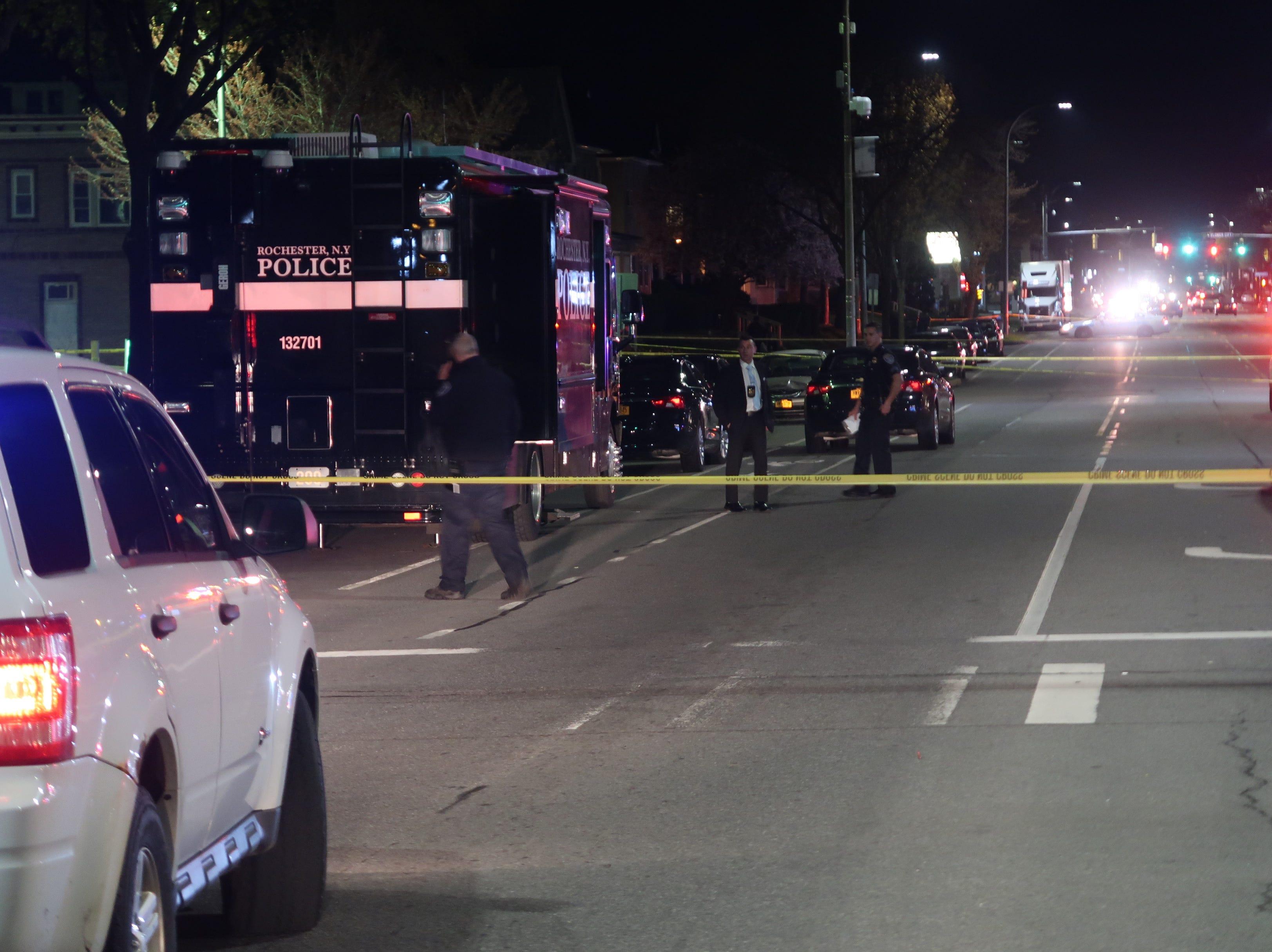 The entire scope of the homicide scene on Dewey Avenue late Saturday night.