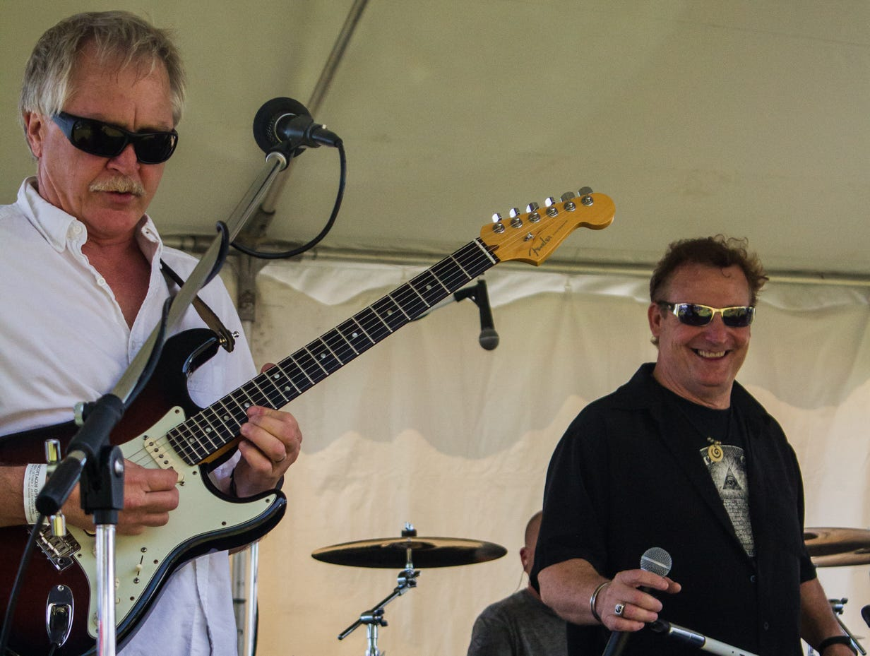 """The band """"Front Page News"""" performs a medley of covers to a crowd on Saturday, May 4, 2019 at the Chincoteague Seafood Festival in Chincoteague, VA."""