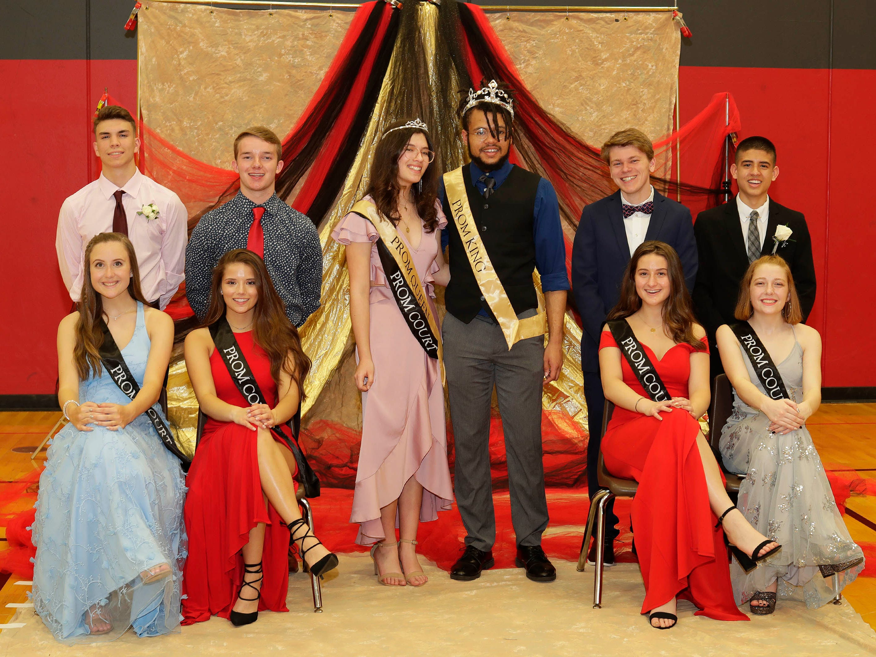 The 2019 prom court poses for a portrait Sheboygan South Prom, Saturday, Mary 4, 2019, in Sheboygan, Wis.