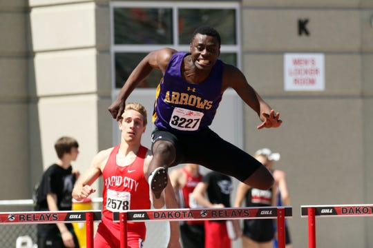 Pierre Lear of Watertown clears a hurdle during the Boys 300 Hurdles at the Howard Wood Relays on Saturday, May 4, 2019 in Sioux Falls.