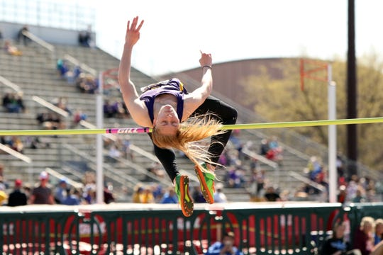 Watertown's Alayna Falak clears the bar in winning the high jump at the Howard Wood Relays on Saturday in Sioux Falls.