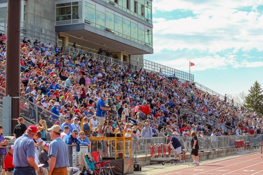 Fans watch at the 94th annual Howard Wood Dakota Relays in Sioux Falls, SD.