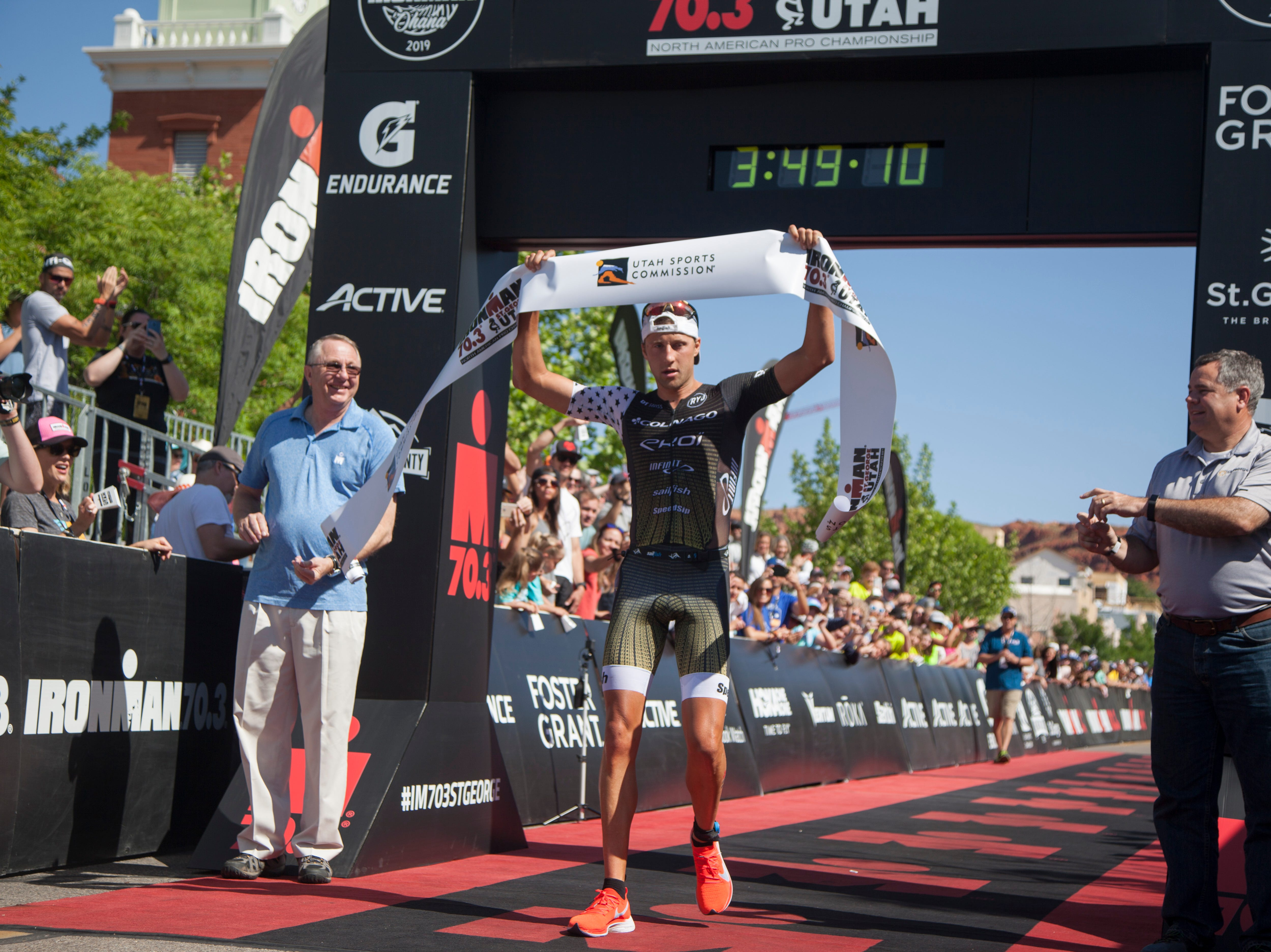 Rudy Vonberg crosses the finish line of the St. George Ironman Saturday, May 4, 2019.