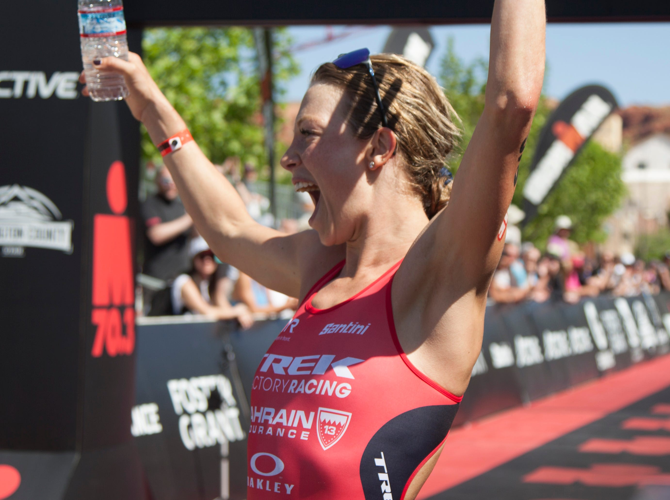 Holly Lawrence reacts to hearing she set a new course record at the St. George Ironman Saturday, May 4, 2019.
