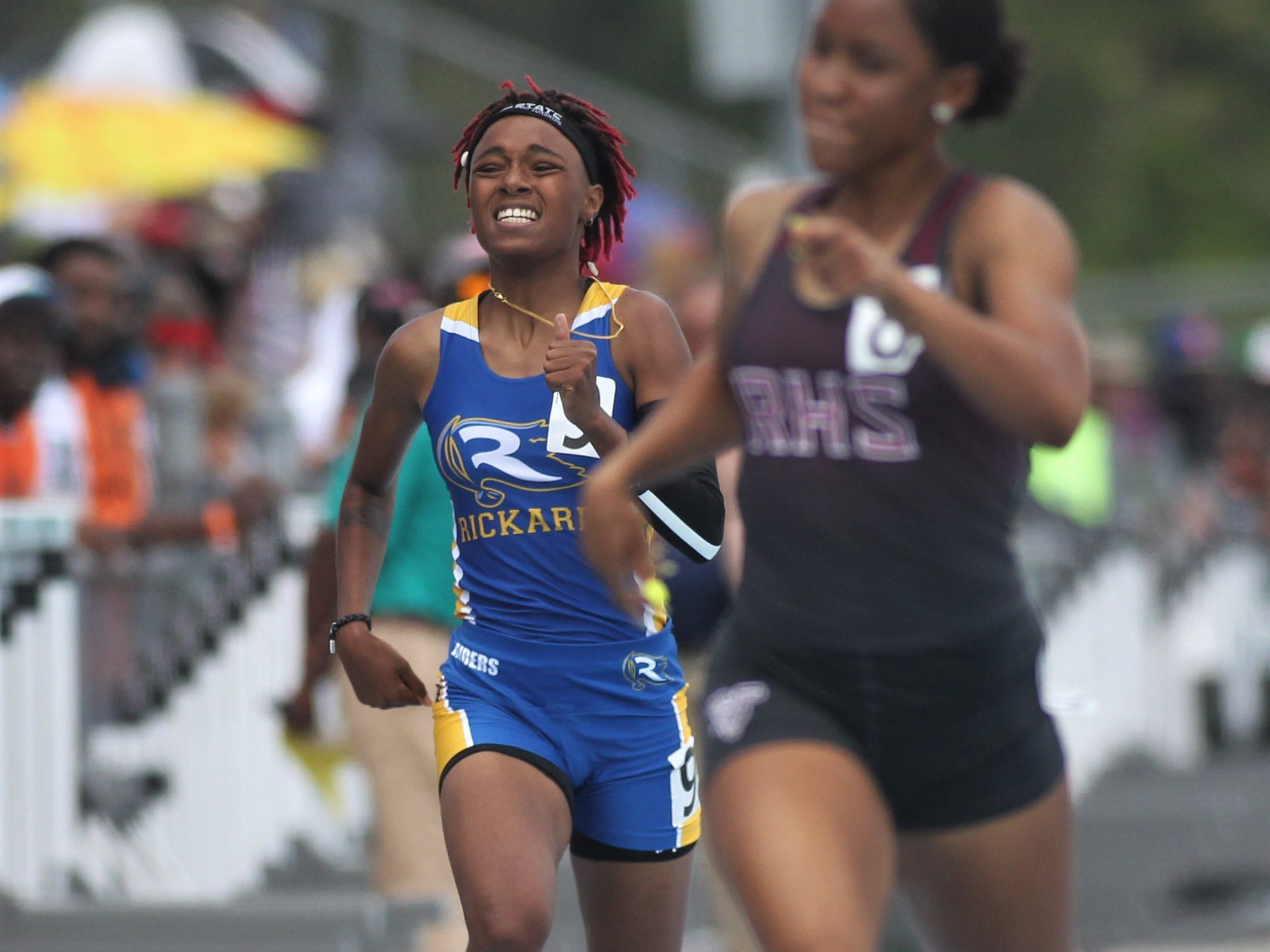 Rickards junior Kiarra Jordan took sixth in the Class 2A 400m dash the FHSAA Track and Field State Championships at UNF's Hodges Stadium in Jacksonville on May 4, 2019.