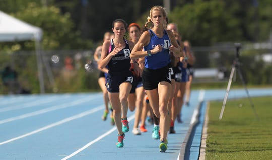 Canterbury sophomore Jessica Edwards won double gold in the Class 1A 1600m and 3200m runs at the FHSAA Track and Field State Championships at UNF's Hodges Stadium in Jacksonville on May 4, 2019.