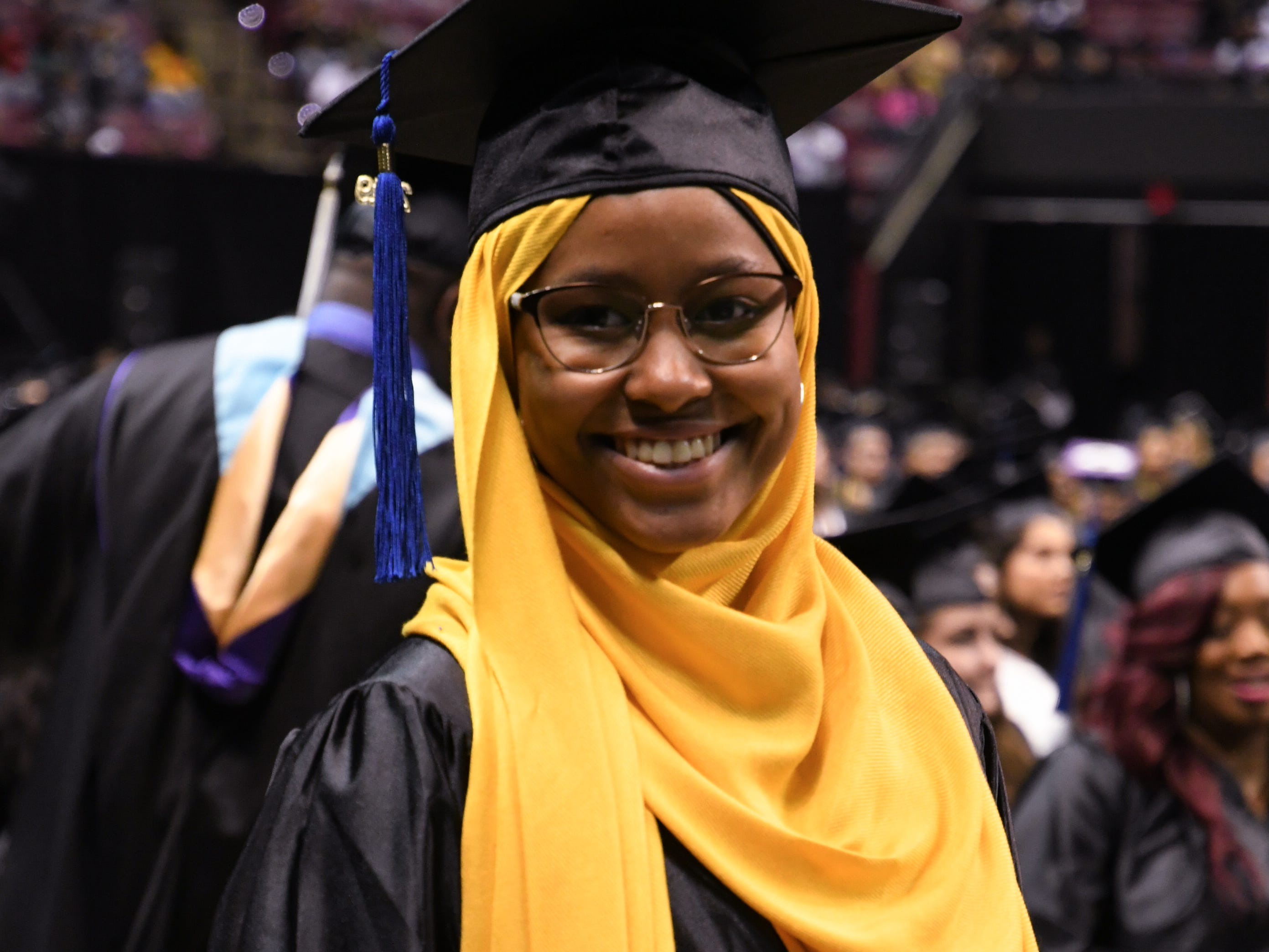 Qaaree Abdul-Bari graduates from Tallahassee Community College at the spring commencement ceremony at Donald L. Tucker Civic Center Saturday, May 4, 2019.