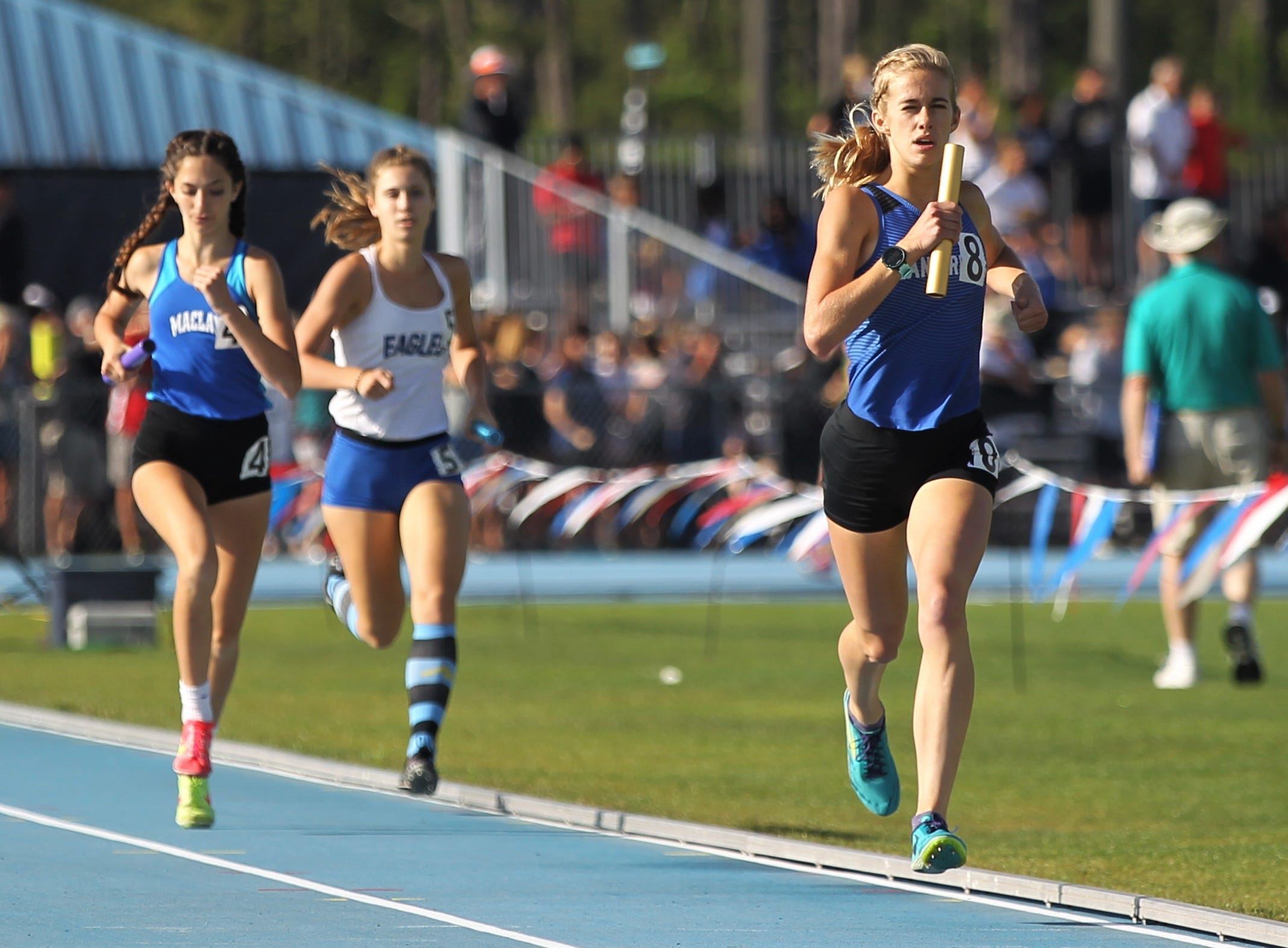 Canterbury's Jessica Edwards runs a 4x800 leg during the FHSAA Track and Field State Championships at UNF's Hodges Stadium in Jacksonville on May 4, 2019.