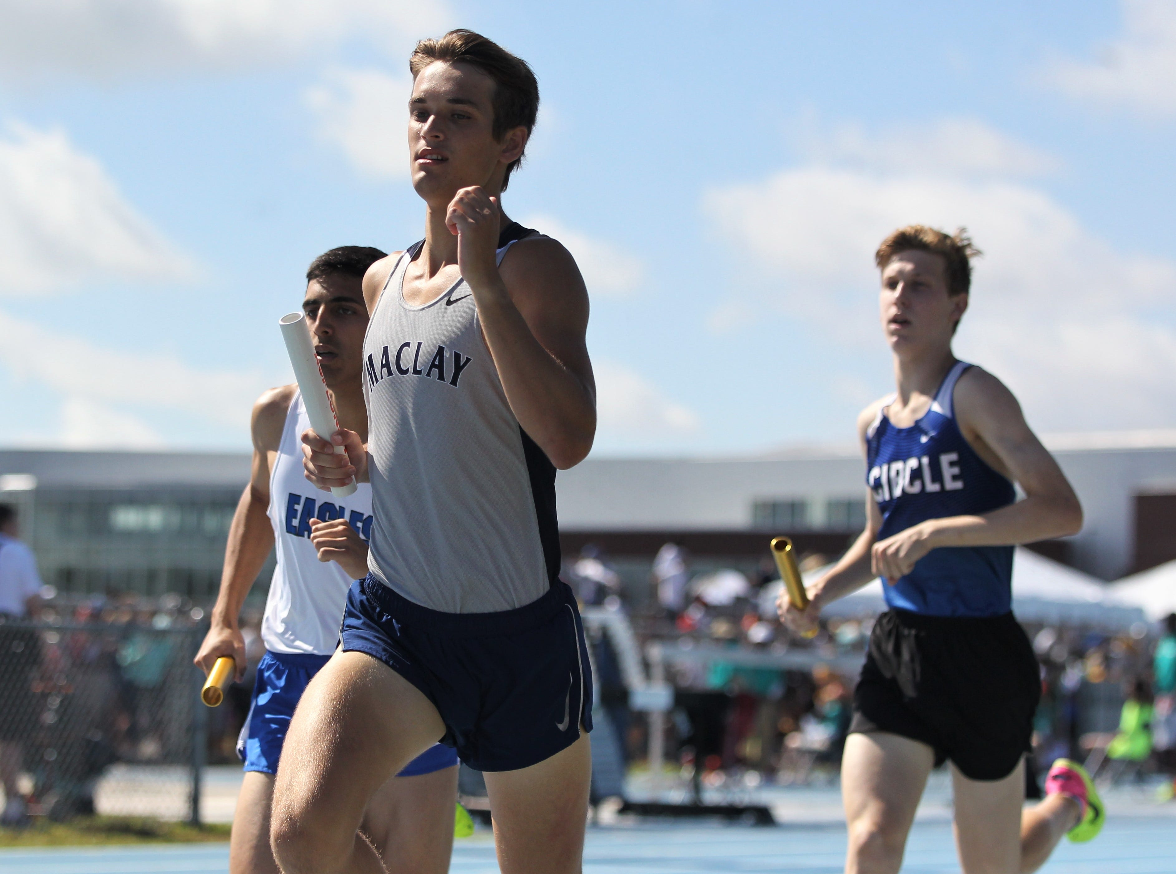 Maclay runs a 4x800 leg during the FHSAA Track and Field State Championships at UNF's Hodges Stadium in Jacksonville on May 4, 2019.