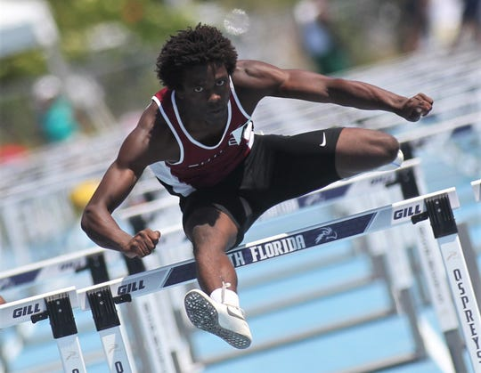 Chiles junior Jalen Herring took third in Class 3A 110m hurdles at the FHSAA Track and Field State Championships at UNF's Hodges Stadium in Jacksonville on May 4, 2019.