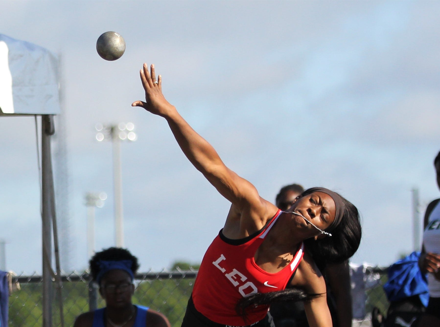 Leon senior A'Nylah Cobb throws shot put during the FHSAA Track and Field State Championships at UNF's Hodges Stadium in Jacksonville on May 4, 2019.