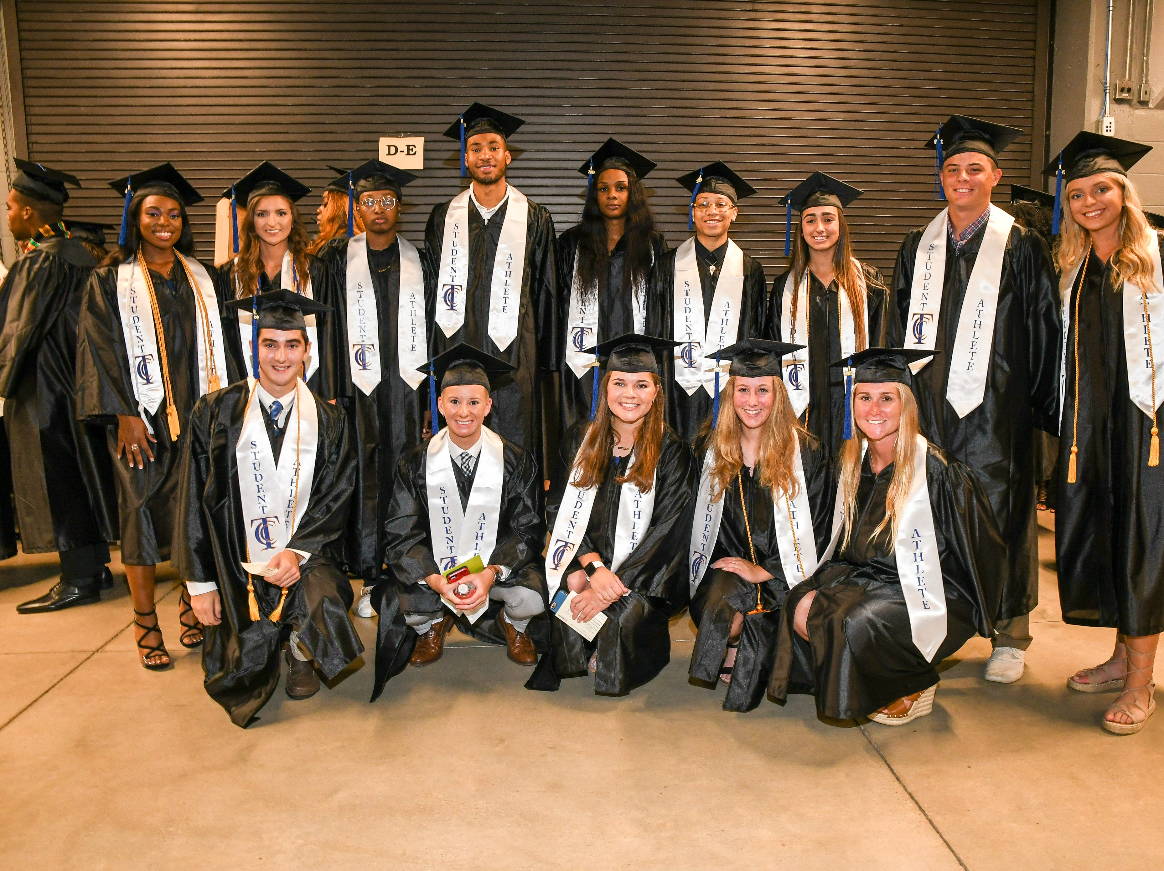 Tallahassee Community College student athletes pose for a photo at the spring commencement ceremony at Donald L. Tucker Civic Center Saturday, May 4, 2019.