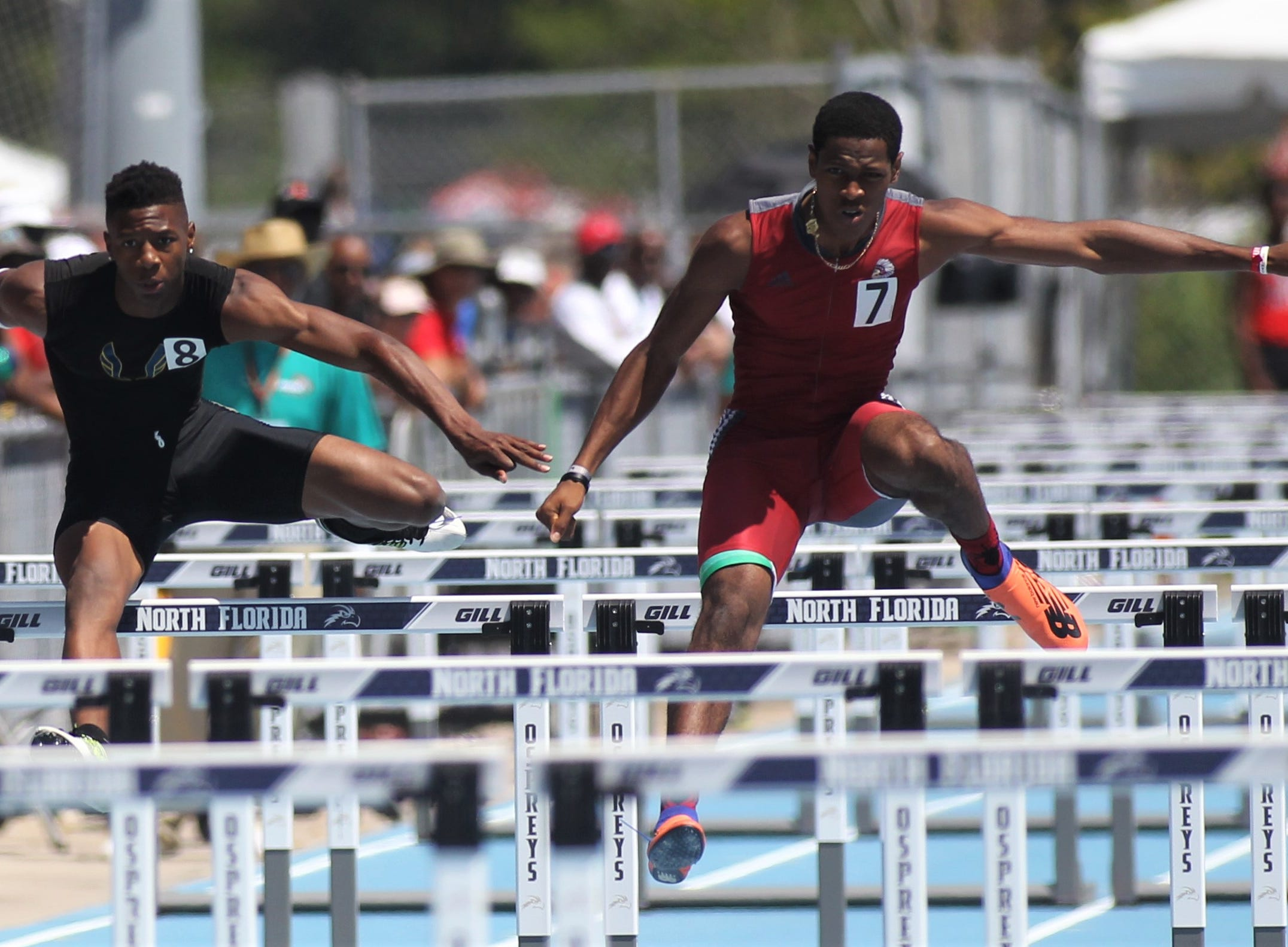 Rickards senior Chris Robinson took third in Class 2A 110m hurdles at the FHSAA Track and Field State Championships at UNF's Hodges Stadium in Jacksonville on May 4, 2019.
