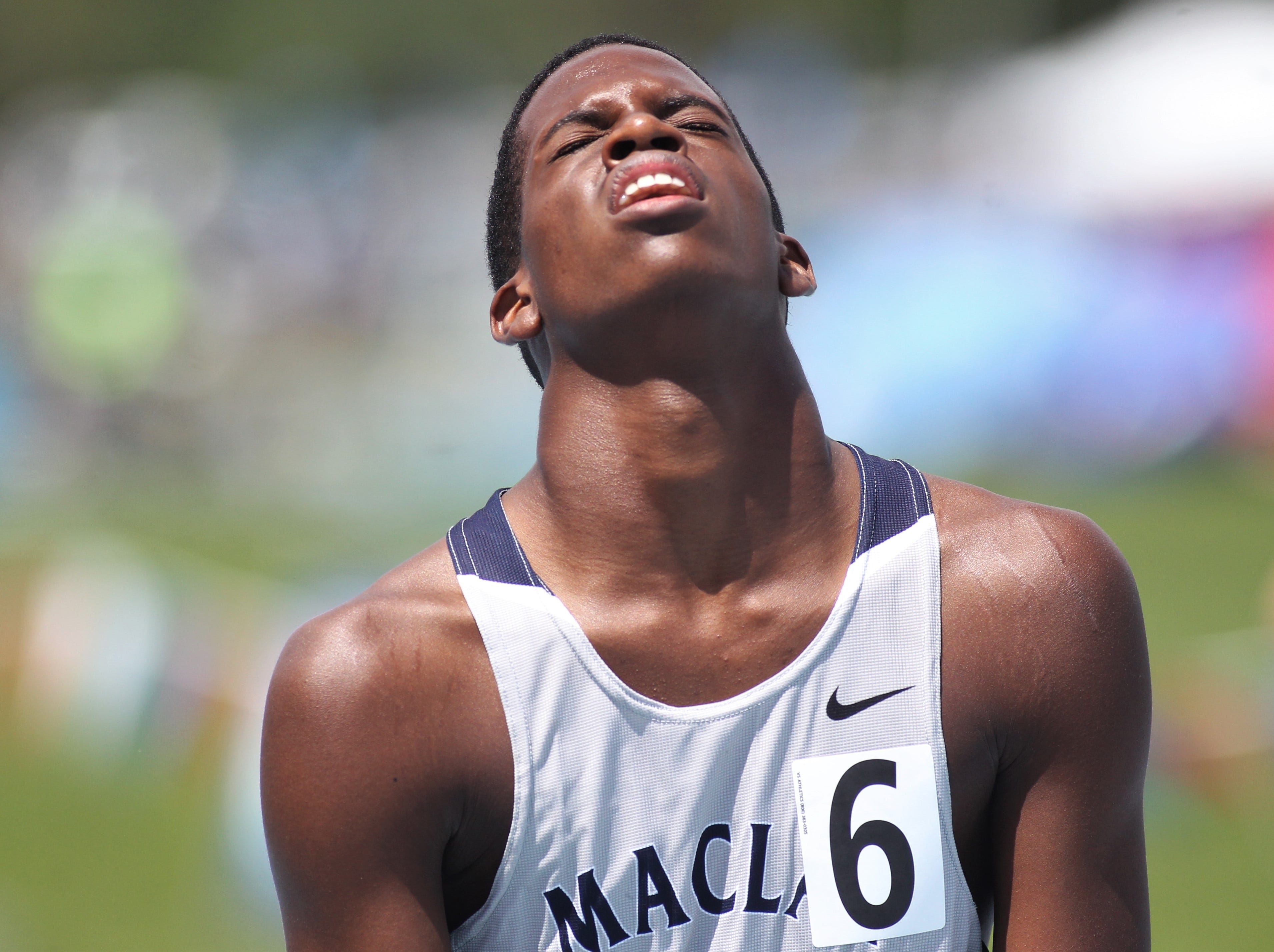 Maclay junior Gavin Rolle reacts to fatigue after the 300m hurdles, but he finished sixth in Class 1A during the FHSAA Track and Field State Championships at UNF's Hodges Stadium in Jacksonville on May 4, 2019.