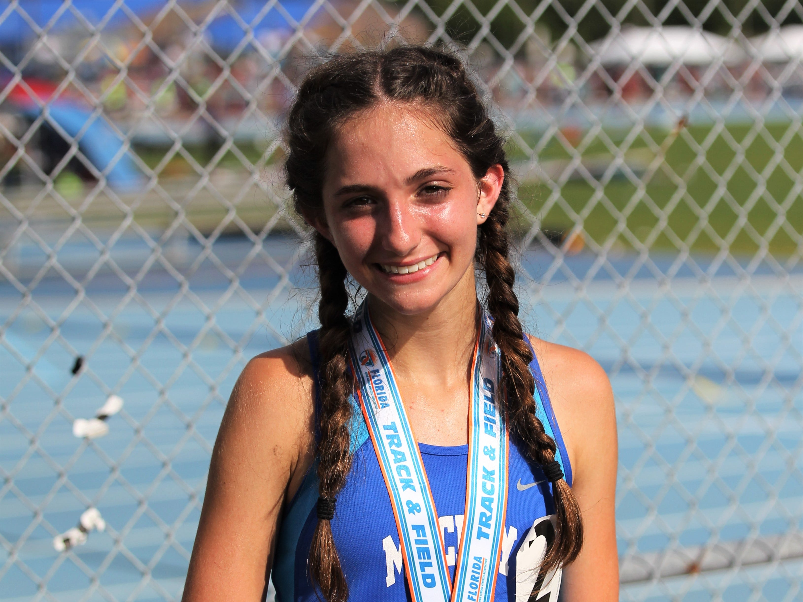 Maclay eighth-grader Ella Porcher won a silver medal in the Class 1A 1600m run at the FHSAA Track and Field State Championships at UNF's Hodges Stadium in Jacksonville on May 4, 2019.