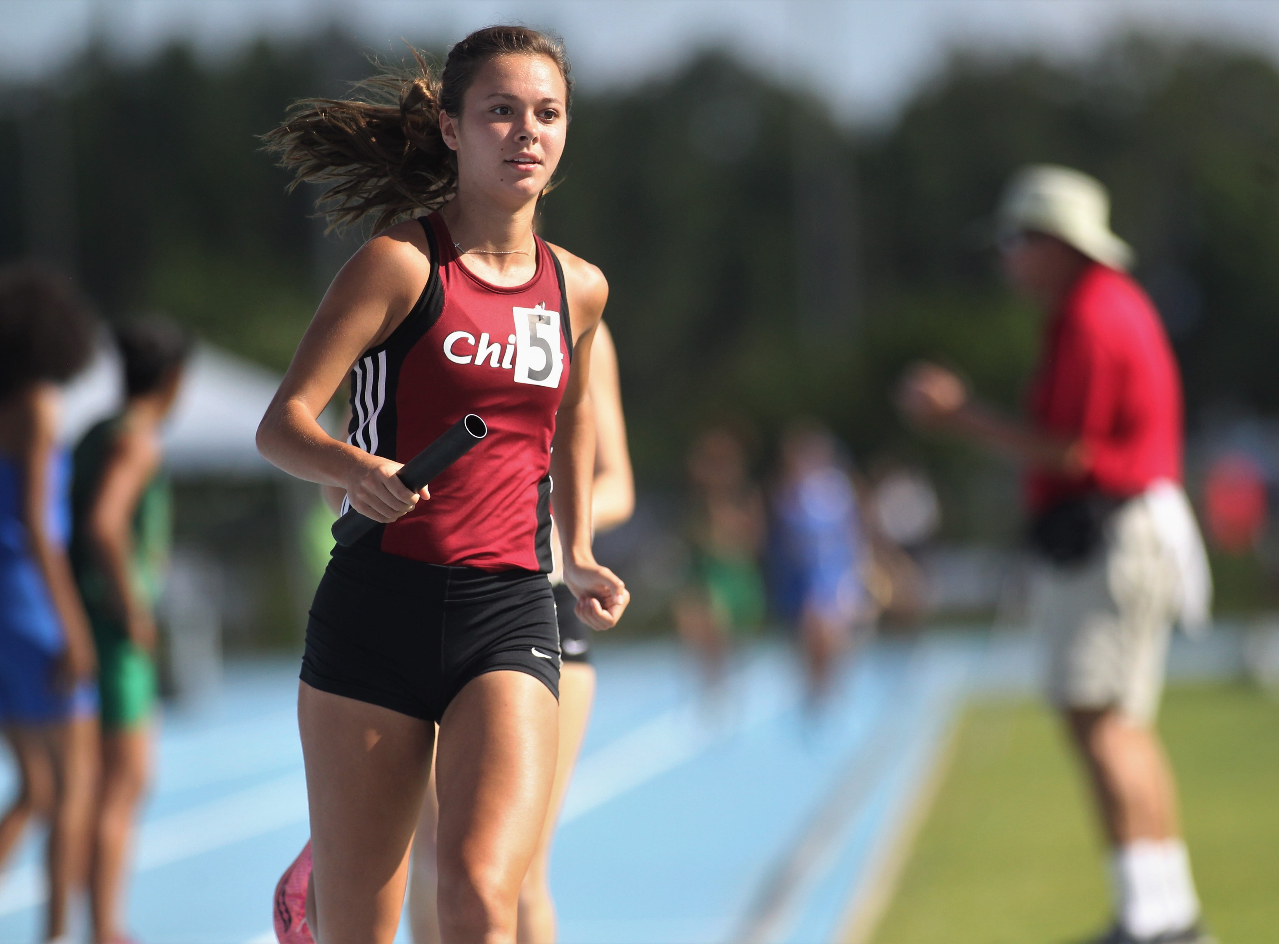 Chiles senior Olivia Miller runs the anchor leg as Chiles' girls 4x800 relay captured gold in Florida's fourth-best time ever during the FHSAA Track & Field State Championships at UNF's Hodges Stadium in Jacksonville on May 4, 2019.