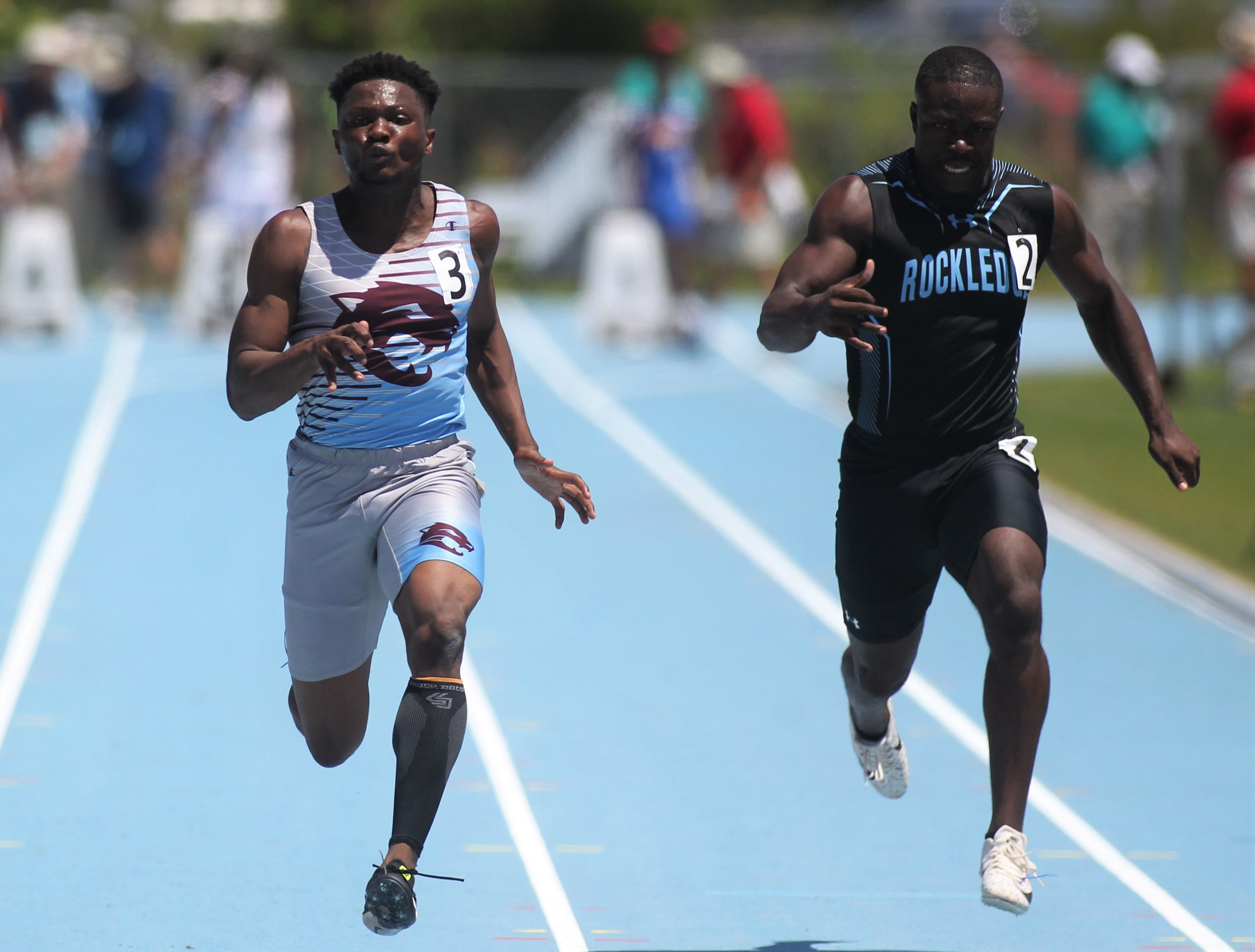 Gadsden County junior Dequavious Charleston finished fifth in the Class 2A 100m dash, next to Rockledge senior Jordan Young-Humphrey who was seventh, during the FHSAA Track and Field State Championships at UNF's Hodges Stadium in Jacksonville on May 4, 2019.