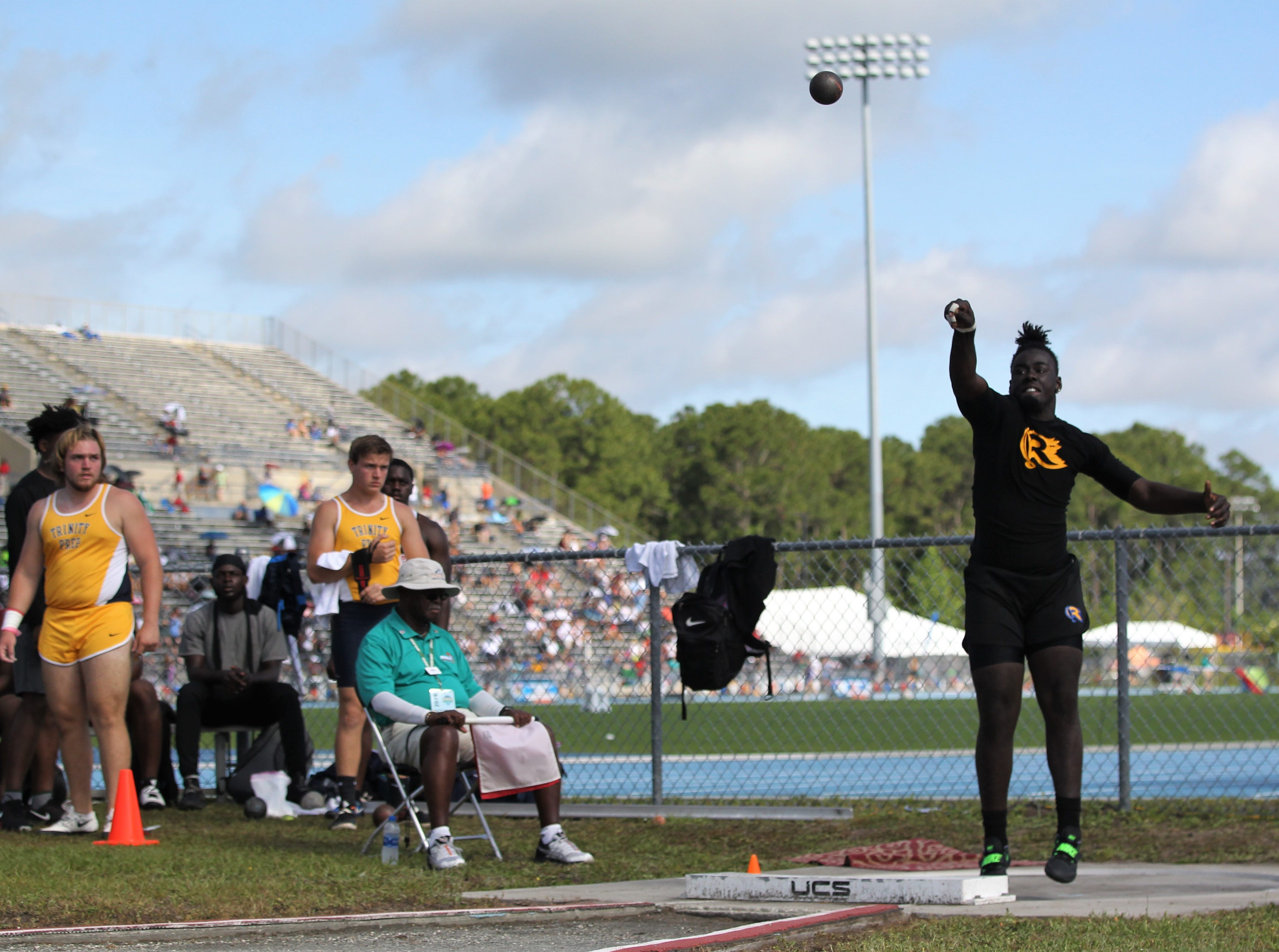 Rickards senior Ke'Shaun Mitchell throws shot put during the FHSAA Track and Field State Championships at UNF's Hodges Stadium in Jacksonville on May 4, 2019.