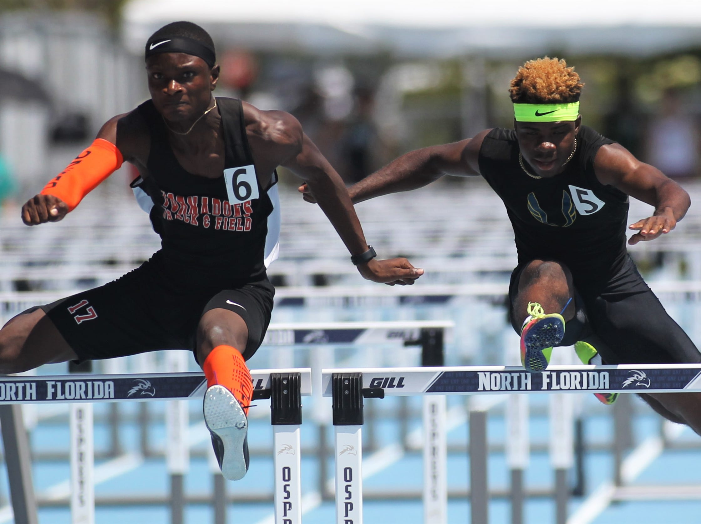 Rickards senior Jabari Bryant took silver in Class 2A 110m hurdles at the FHSAA Track and Field State Championships at UNF's Hodges Stadium in Jacksonville on May 4, 2019.