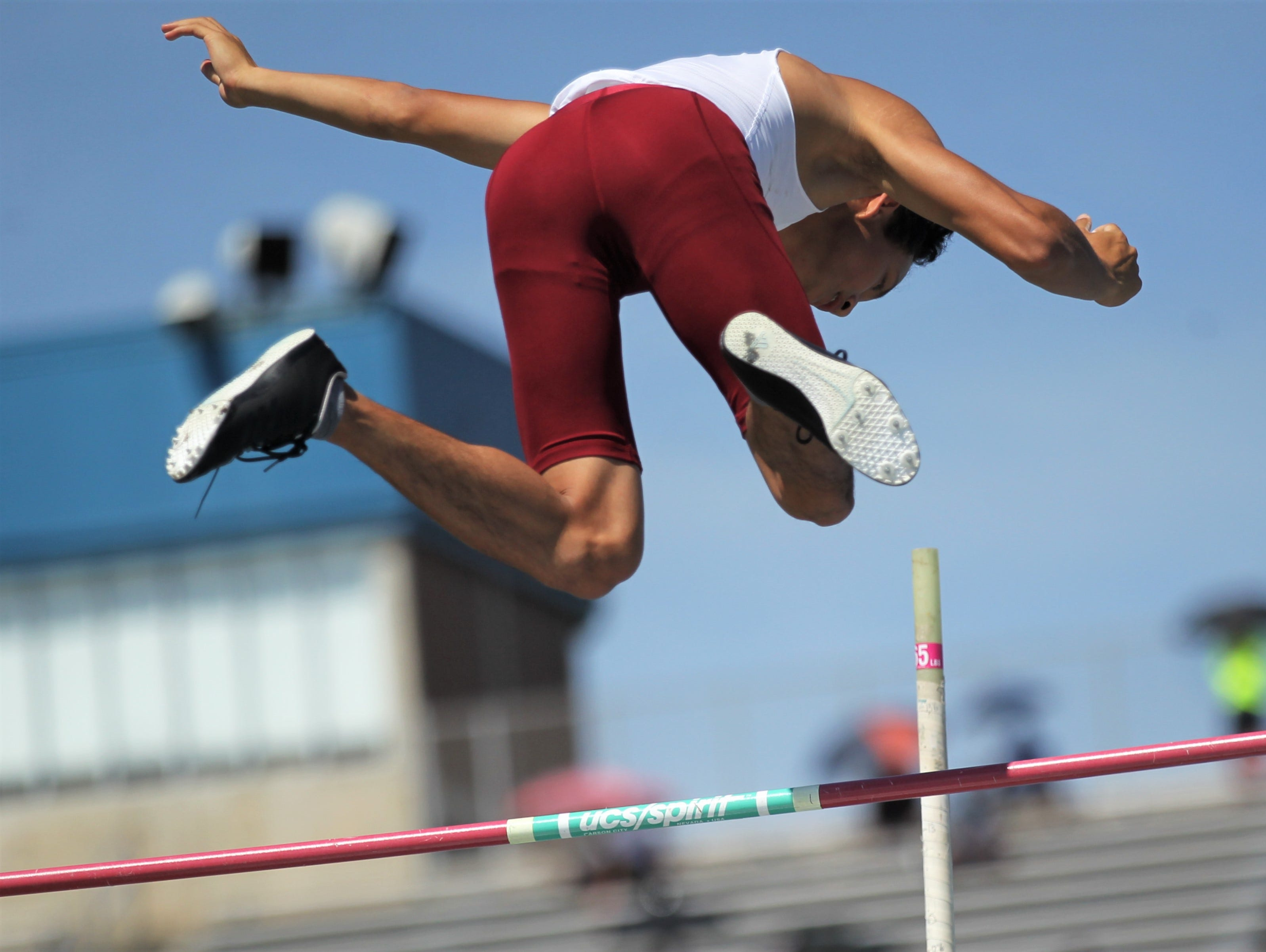 Florida High freshman Ming Pierson pole vaults during the FHSAA Track and Field State Championships at UNF's Hodges Stadium in Jacksonville on May 4, 2019.