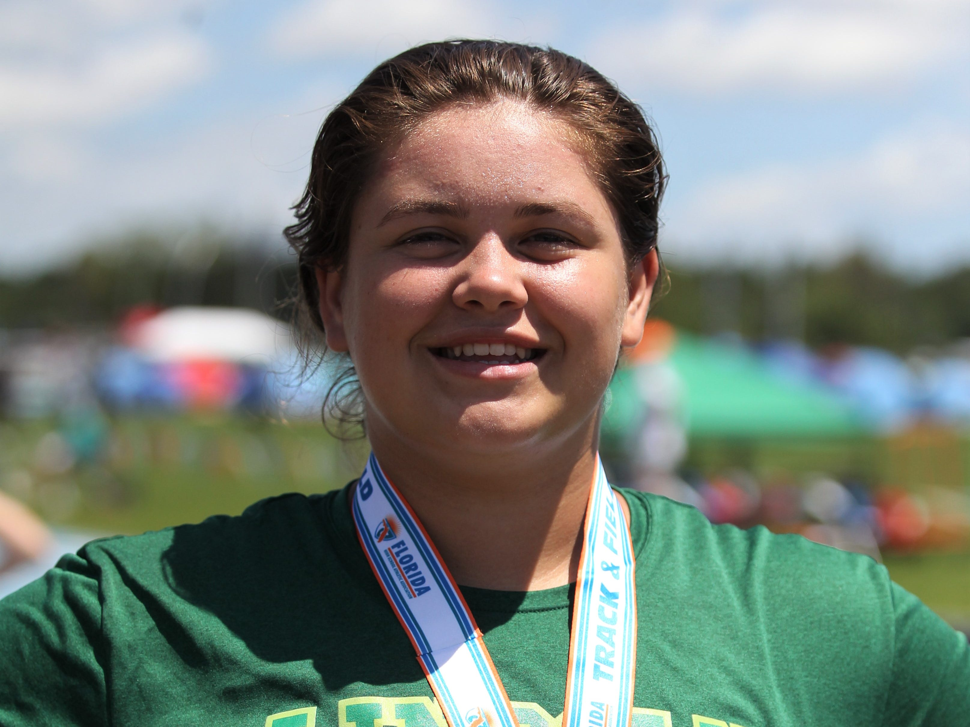 Lincoln junior Macy Kelley took seventh in Class 3A shot put during the FHSAA Track and Field State Championships at UNF's Hodges Stadium in Jacksonville on May 4, 2019.
