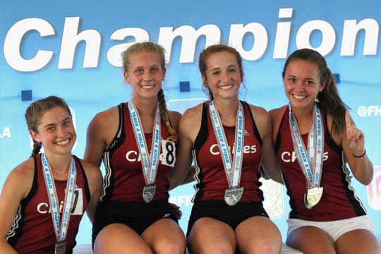 Chiles' girls 4x800 relay team of juniors Alyson Churchill and Caitlin Wilkey and seniors Emily Culley and Olivia Miller captured gold in Florida's fourth-best time ever during the FHSAA Track and Field State Championships on May 4, 2019. The four scored all of the Timberwolves' points in a Class 3A state runner-up result.