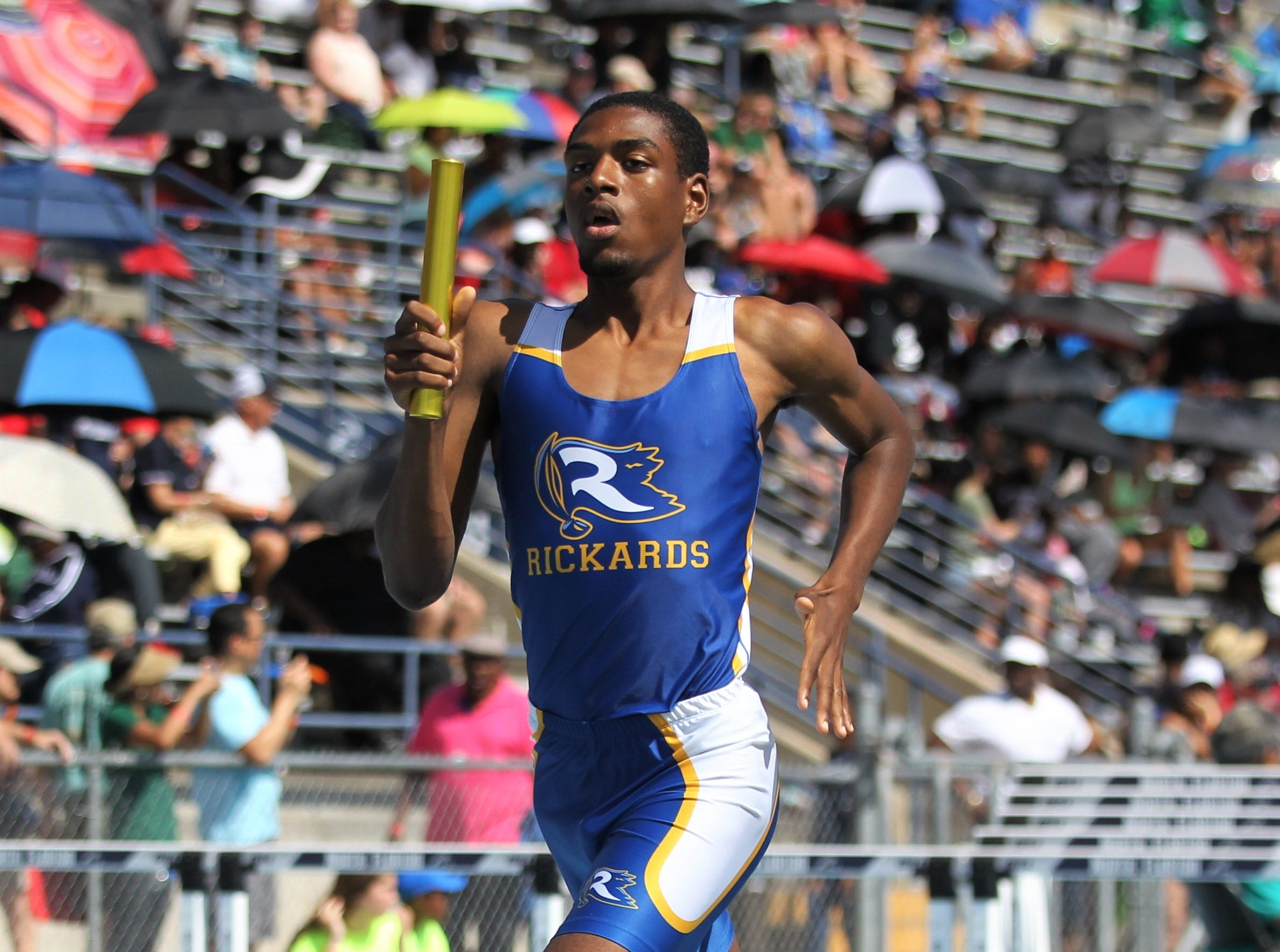 Rickards senior Chris Porter runs a 4x800 leg during the FHSAA Track and Field State Championships at UNF's Hodges Stadium in Jacksonville on May 4, 2019.