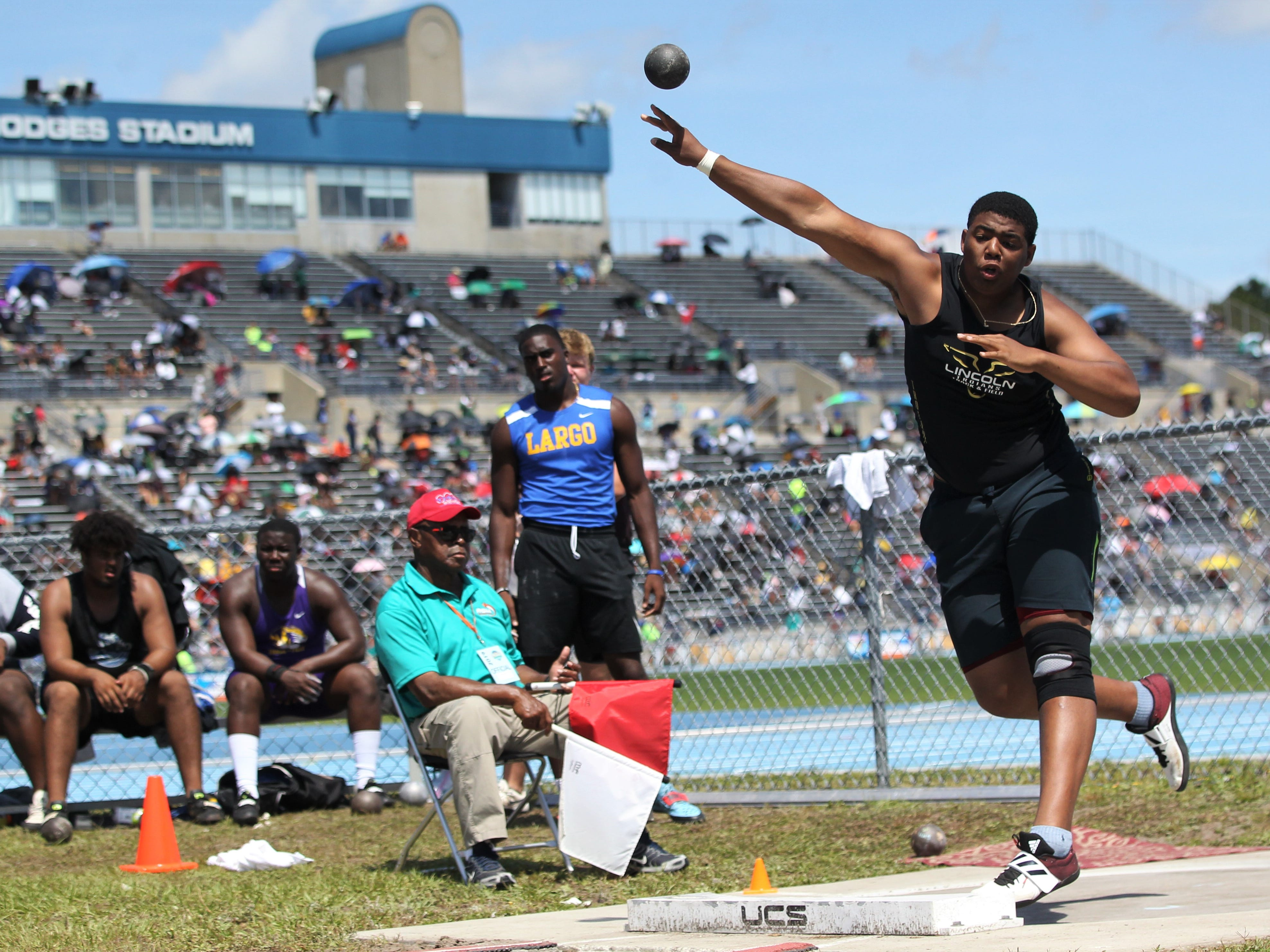 Lincoln junior Tyren Hannah took third in Class 3A shot put during the FHSAA Track and Field State Championships at UNF's Hodges Stadium in Jacksonville on May 4, 2019.