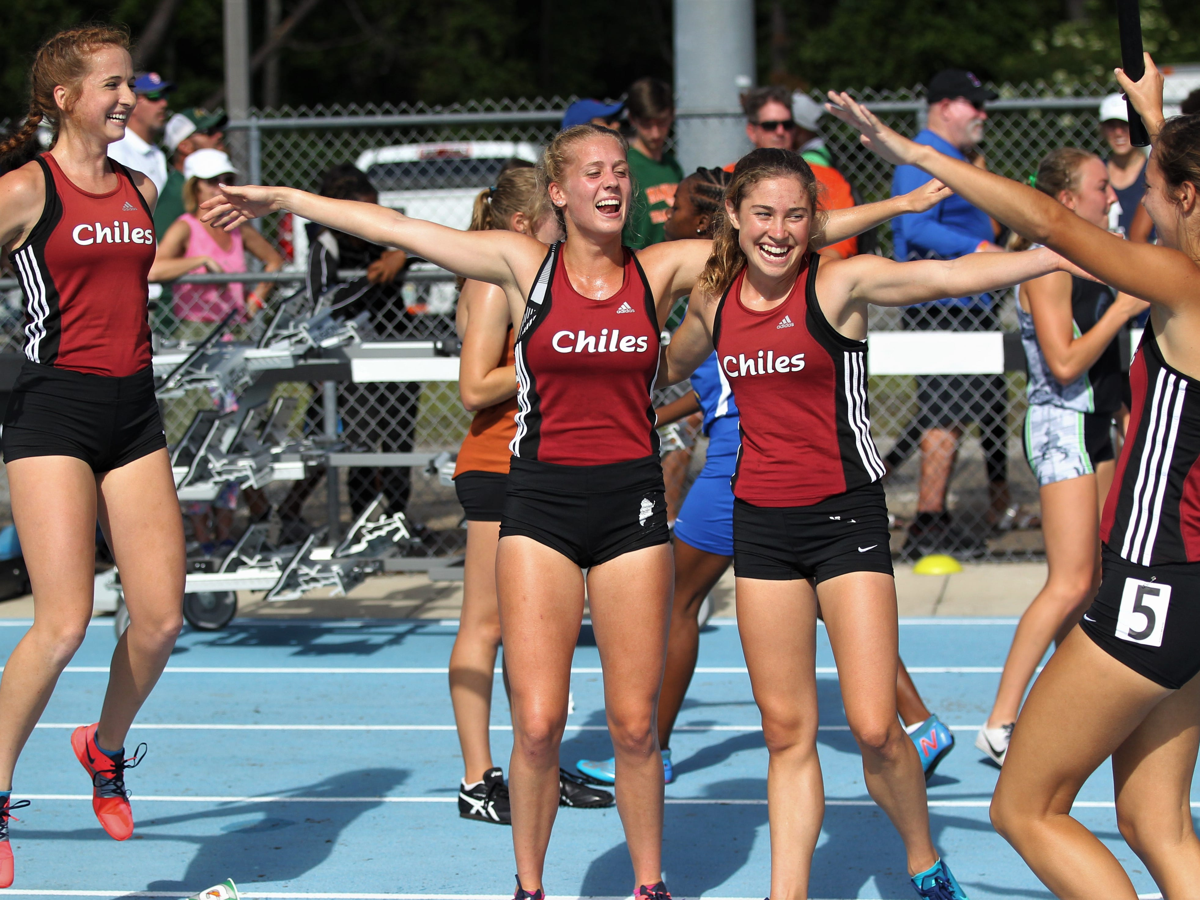 Chiles' girls 4x800 relay team of Emily Culley, Caitlin Wilkey, Alyson Churchill and Olivia Miller captured gold in Florida's fourth-best time ever during the FHSAA Track & Field State Championships at UNF's Hodges Stadium in Jacksonville on May 4, 2019.