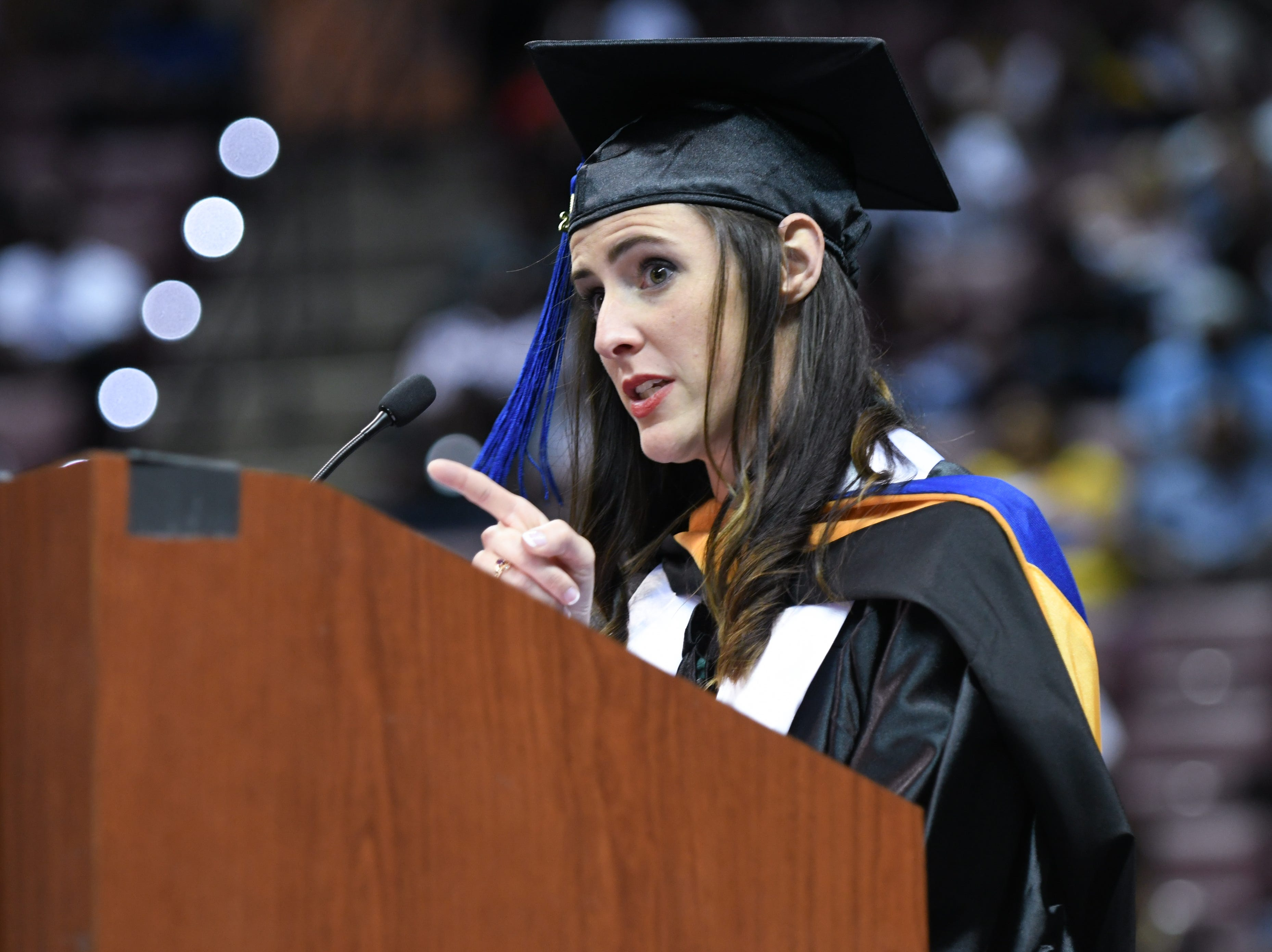 Tallahassee Community College nursing graduate Ashley Maxwell speaks at her graduation ceremony at Donald L. Tucker Civic Center Saturday, May 4, 2019.