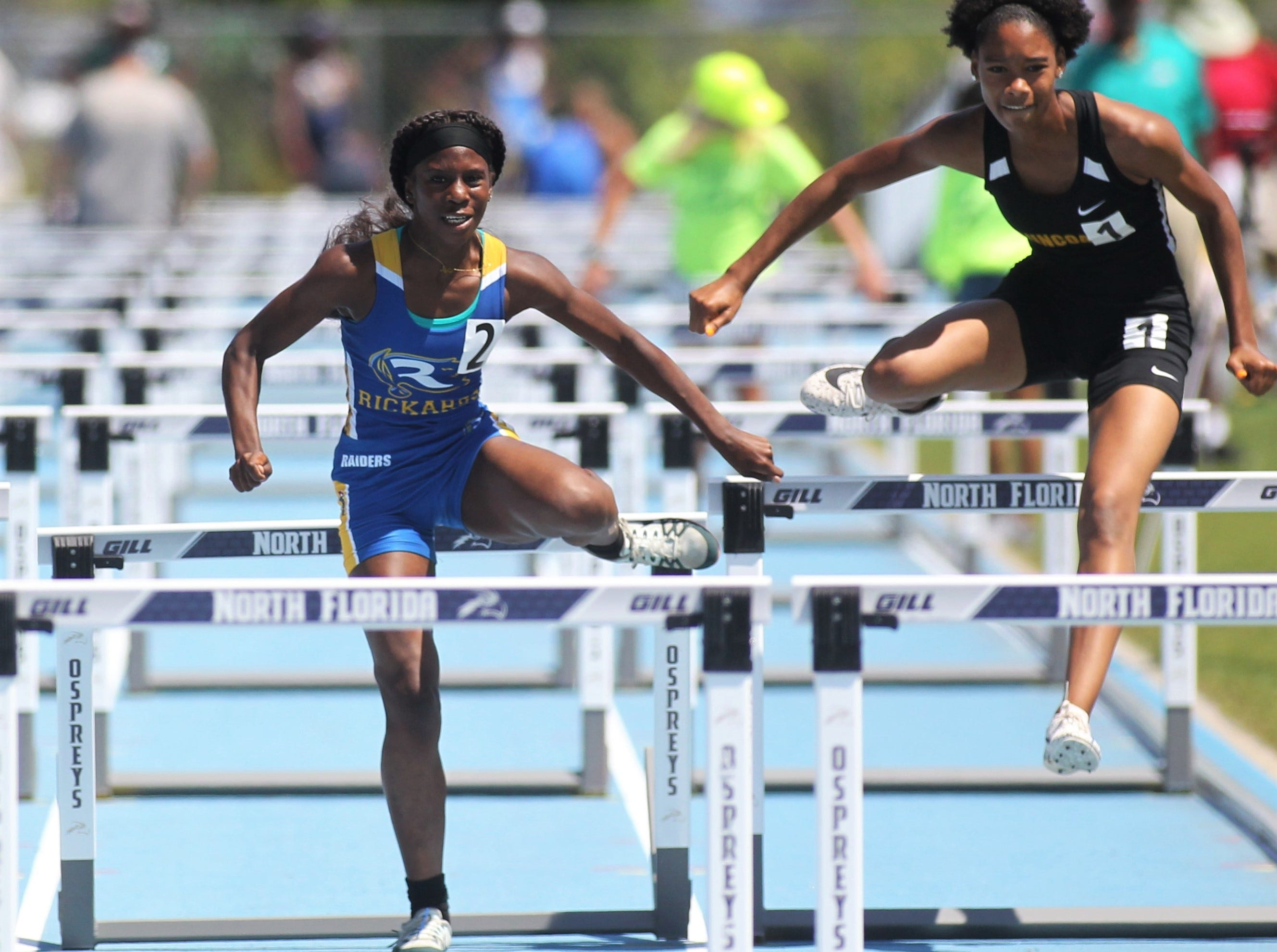 Rickards' Jakell Williams runs the 100m hurdles finals at the FHSAA Track and Field State Championships at UNF's Hodges Stadium in Jacksonville on May 4, 2019.