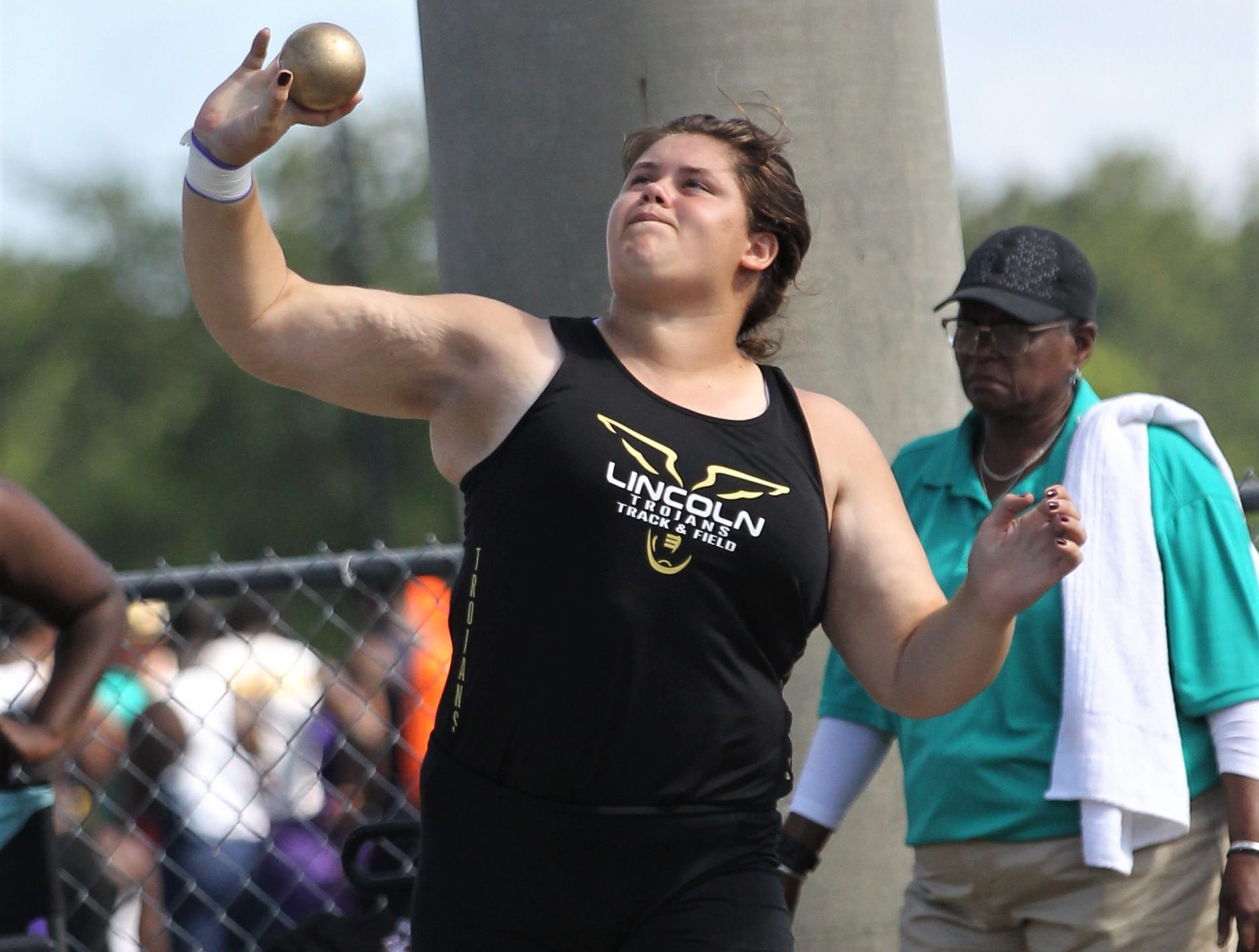 Lincoln junior Macy Kelley throws shot put during the FHSAA Track and Field State Championships at UNF's Hodges Stadium in Jacksonville on May 4, 2019.