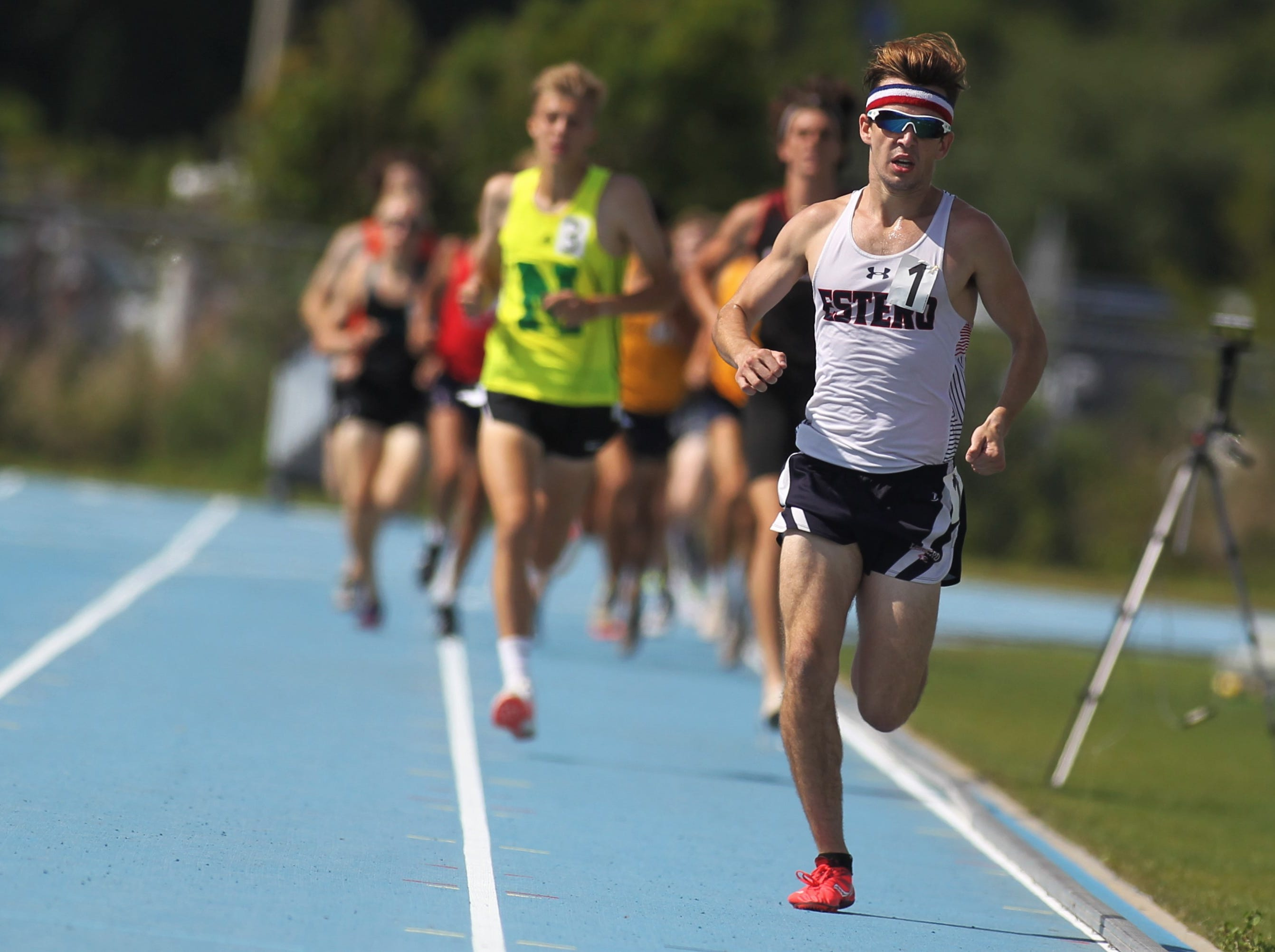 Estero senior Hugh Brittenham won double gold in the Class 3A 800m and 1600m runs during the FHSAA Track and Field State Championships at UNF's Hodges Stadium in Jacksonville on May 4, 2019.