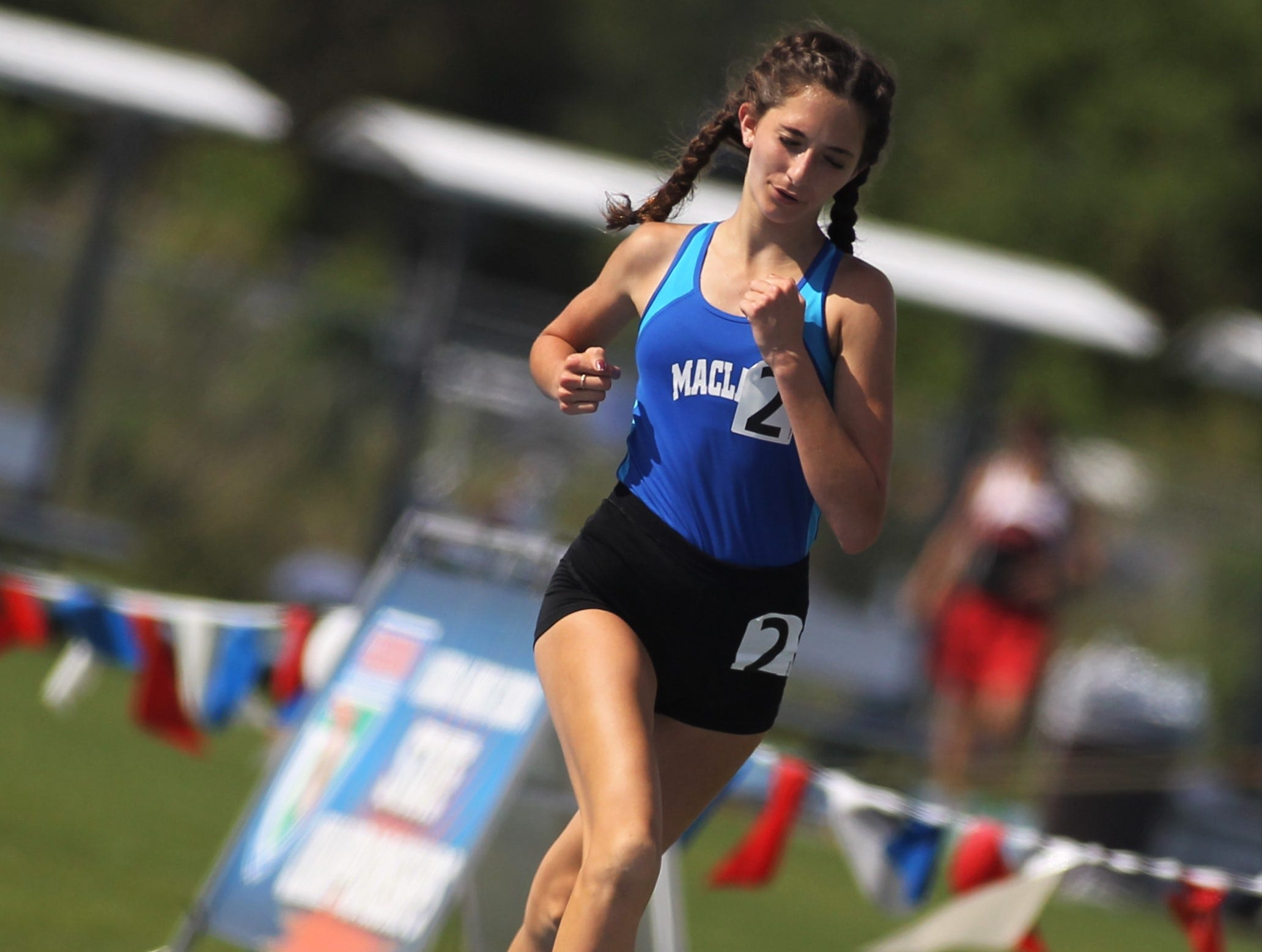 Maclay eighth-grader Ella Porcher took second in the Class 1A 1600m run during the FHSAA Track and Field State Championships at UNF's Hodges Stadium in Jacksonville on May 4, 2019.