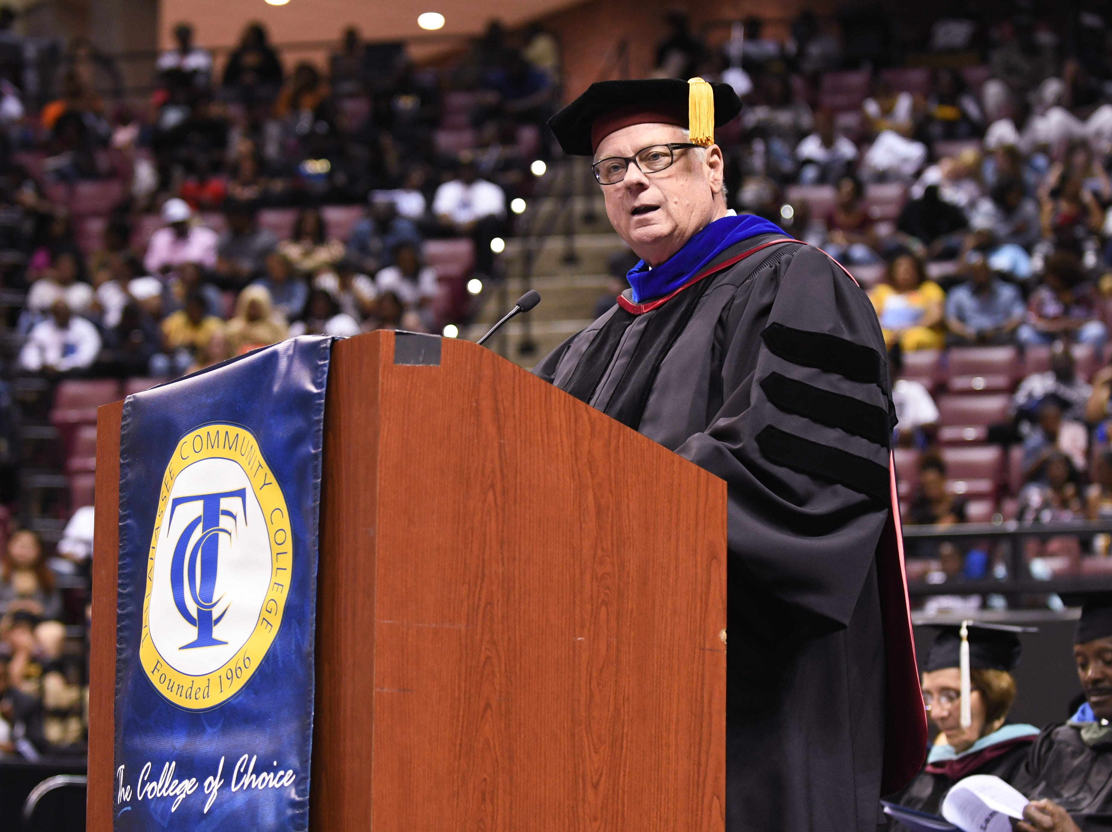 Tallahassee Community College President Jim Murdaugh speaks at the school's spring commencement ceremony at Donald L. Tucker Civic Center Saturday, May 4, 2019.