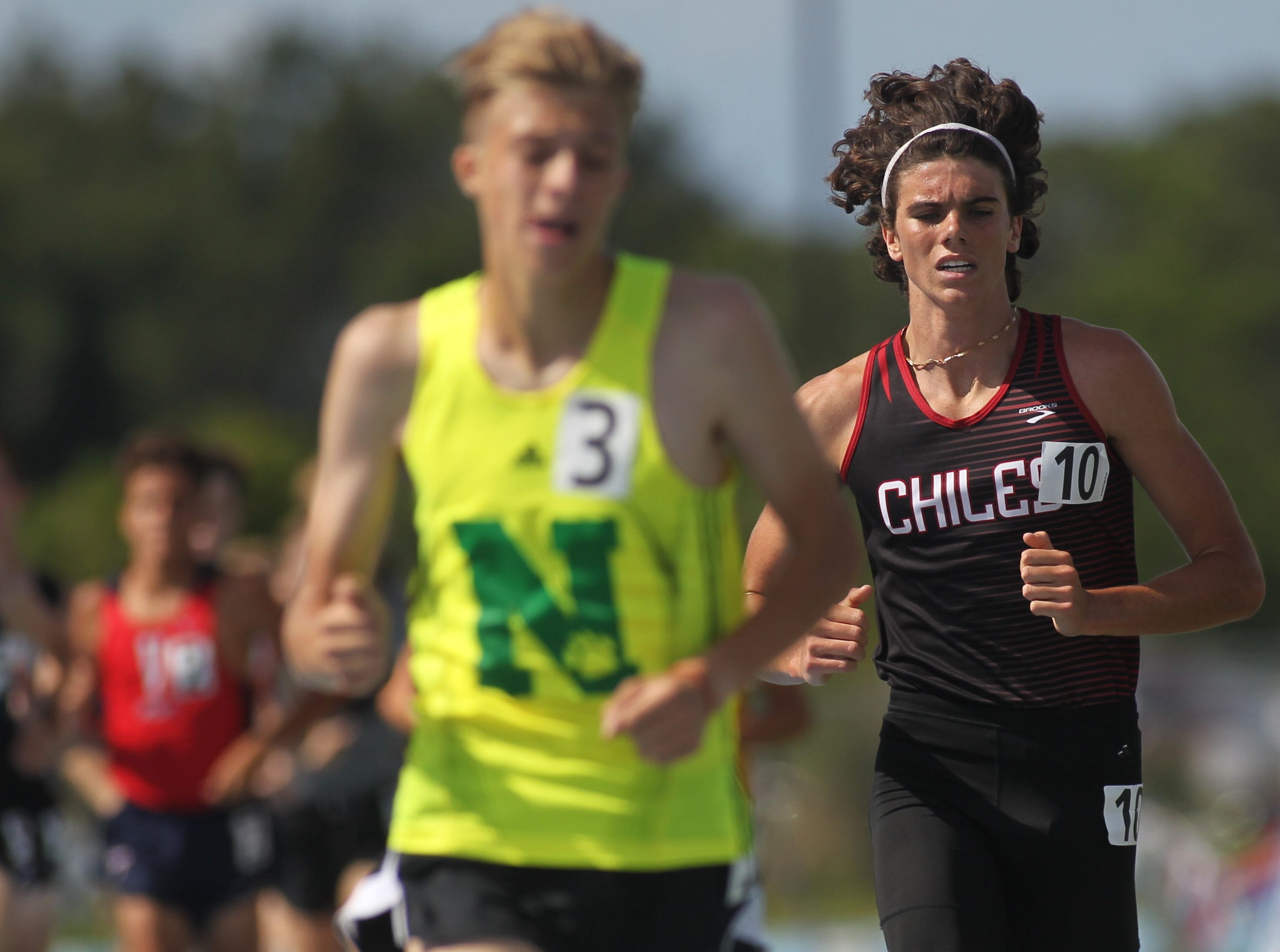 Chiles senior Connor Phillips took fifth in the Class 3A 800m and 1600m runs at the FHSAA Track and Field State Championships at UNF's Hodges Stadium in Jacksonville on May 4, 2019.