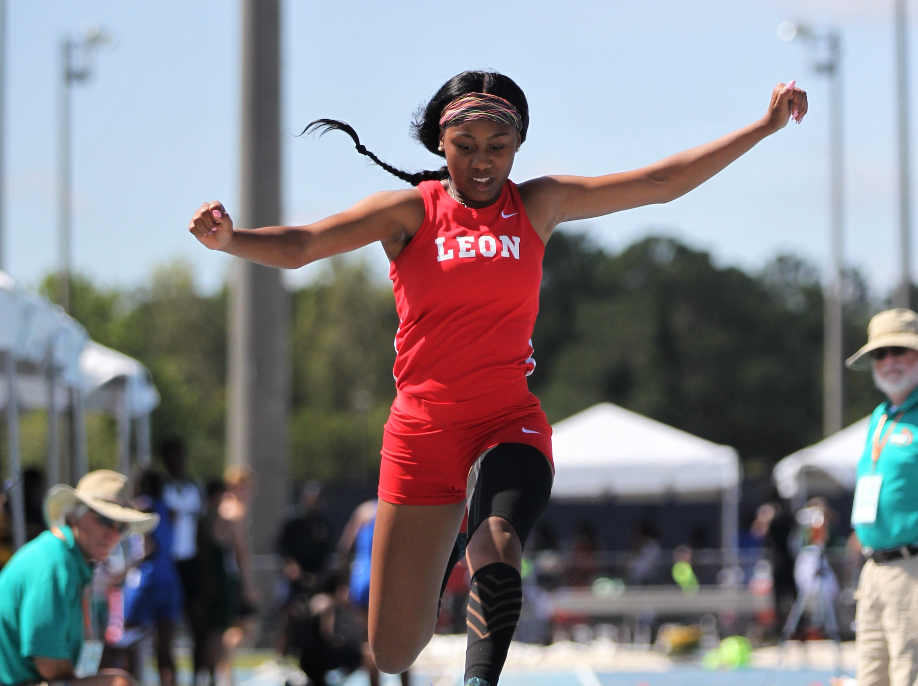 Leon senior Kha'Myah Townsend triple jumps during the FHSAA Track and Field State Championships at UNF's Hodges Stadium in Jacksonville on May 4, 2019.