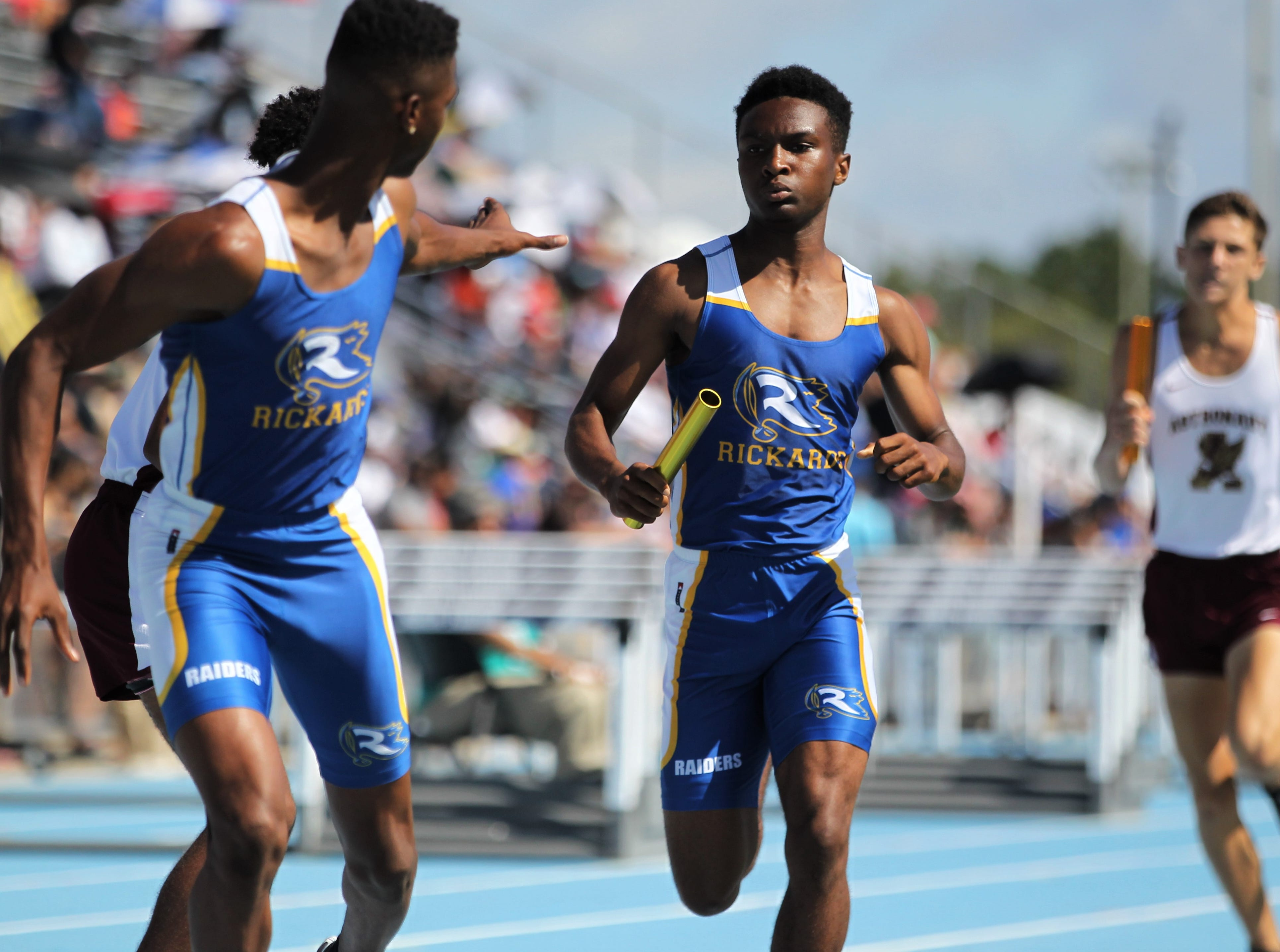 Rickards sophomore Jordan Guice runs a 4x800 leg during the FHSAA Track and Field State Championships at UNF's Hodges Stadium in Jacksonville on May 4, 2019.