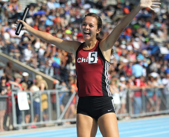 Chiles senior Olivia Miller celebrates as Chiles' girls 4x800 relay captured gold in Florida's fourth-best time ever during the FHSAA Track & Field State Championships at UNF's Hodges Stadium in Jacksonville on May 4, 2019.