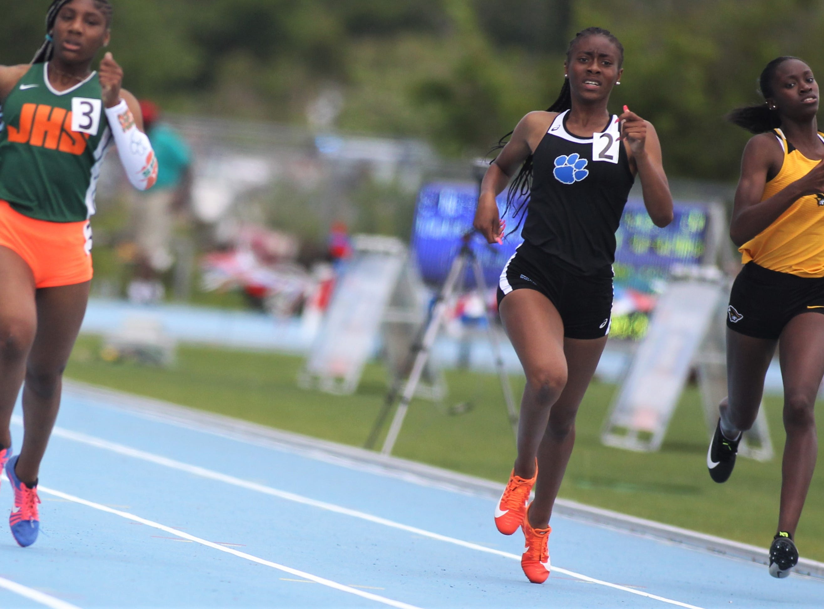 Godby junior A'Kyrah O'Banner took eighth in the Class 2A 400m dash at the FHSAA Track and Field State Championships at UNF's Hodges Stadium in Jacksonville on May 4, 2019.