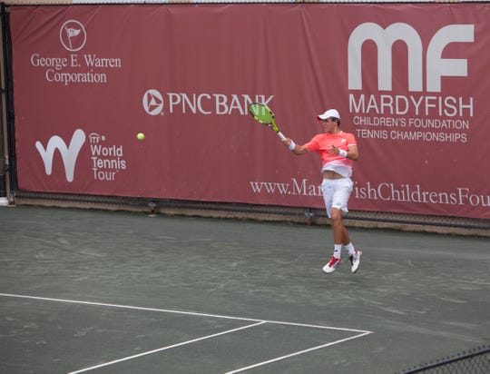 Dmitry Popko playing in the finals of the 2019 Mardy Fish Children's Foundation Tennis Championships, the $25,000 ITF World Tennis Tour event.