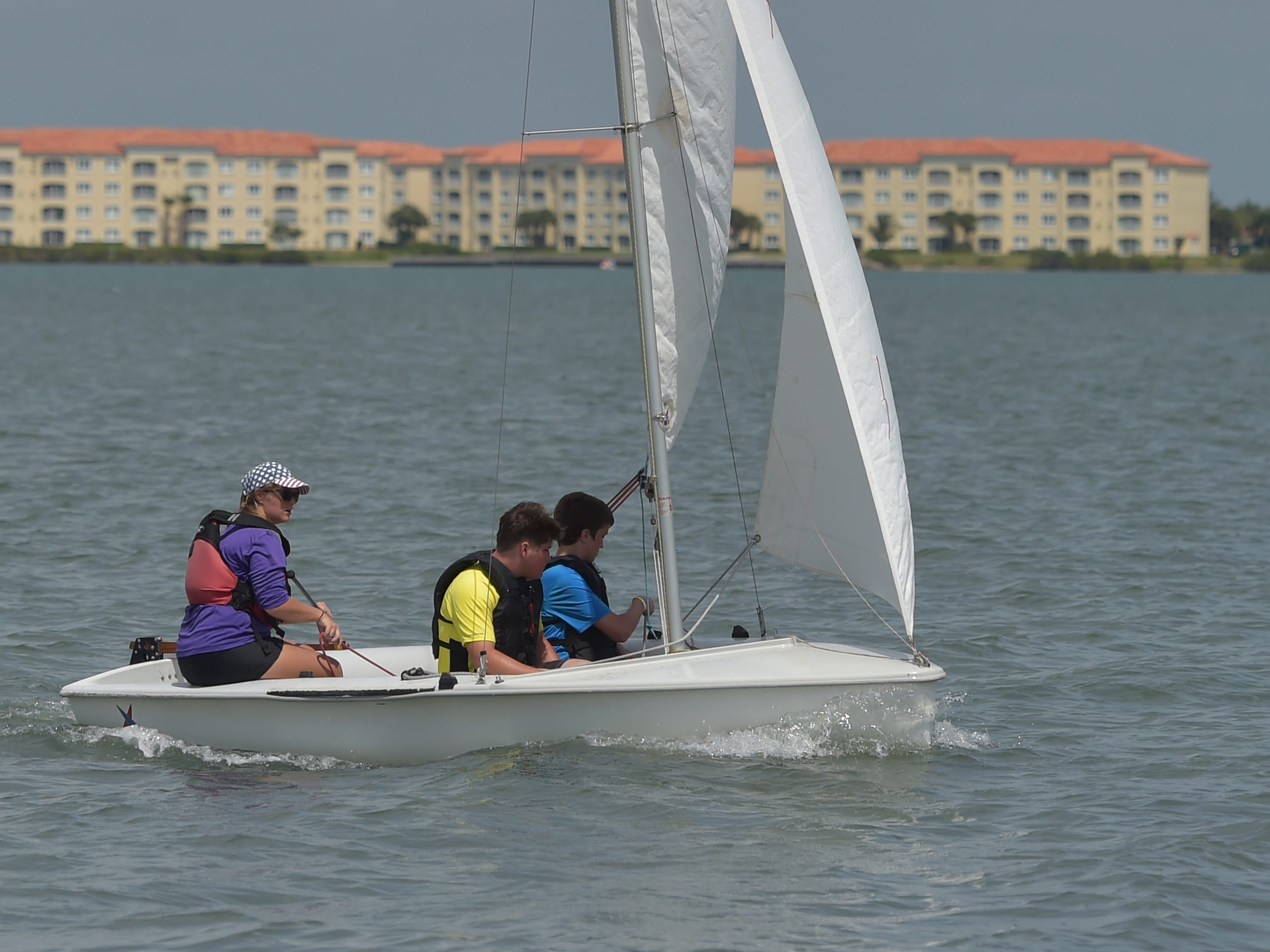 Families having fun at the annual Waterfest event on Sunday, May 5, 2019, at Jaycee Park in Fort Pierce. The event introduces the experience of being on the water with sailing, kayaking, canoeing, paddle boarding, and other water activities in the Indian River Lagoon for free.