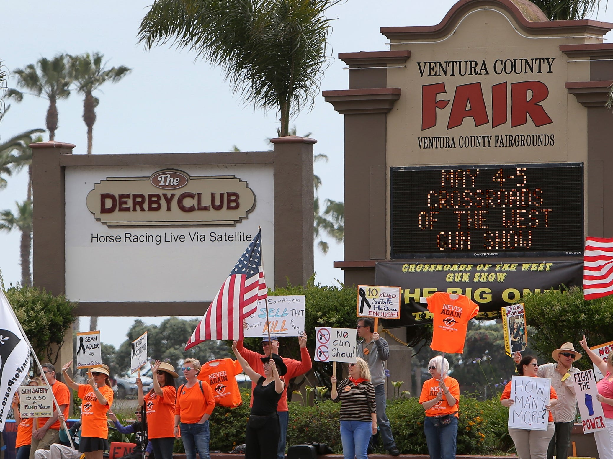 Demonstrators in favor of gun control were out in force Saturday during the Crossroads of the West Gun Show that at the Ventura County Fairgrounds. They want the fairgrounds to stop hosting the gun show.