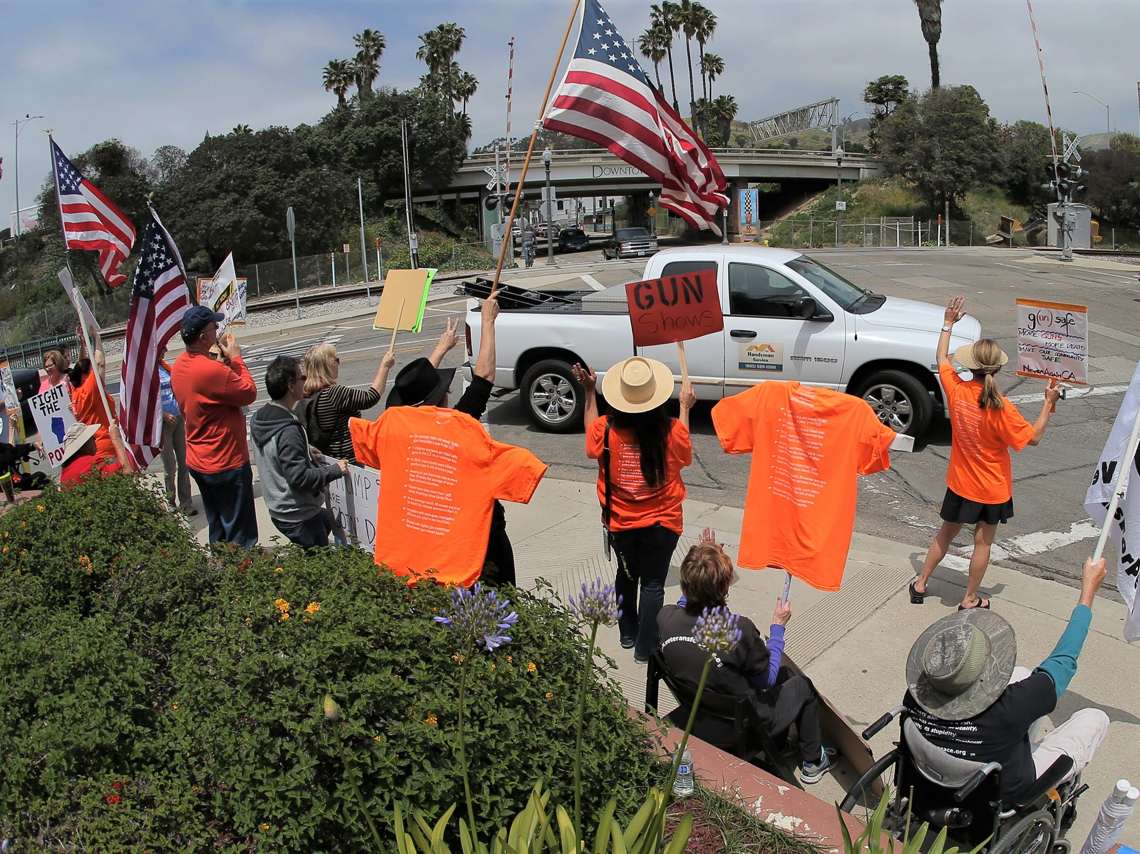 Gun-control advocates protest on Saturday outside the Crossroads of the West Gun Show at the Ventura County Fairgrounds.