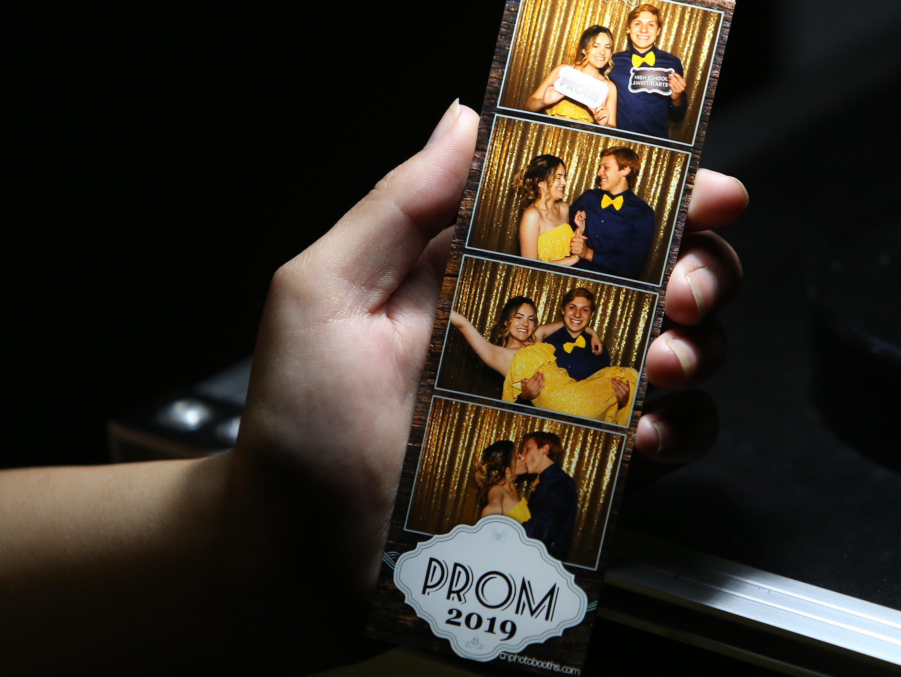Shady Gonzales and Bryce Buchanan in the photo booth at this year's Exeter Union High School prom Saturday, May 4, 2019 in Woodlake, Calif.