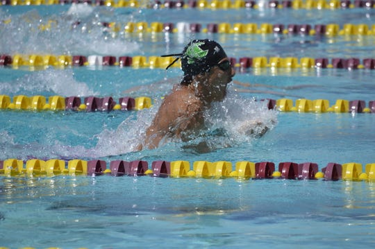 El Diamante's Preston Niayesh swims in the 100-yard breaststroke on Saturday at the Central Section swimming championships at Clovis West High School.