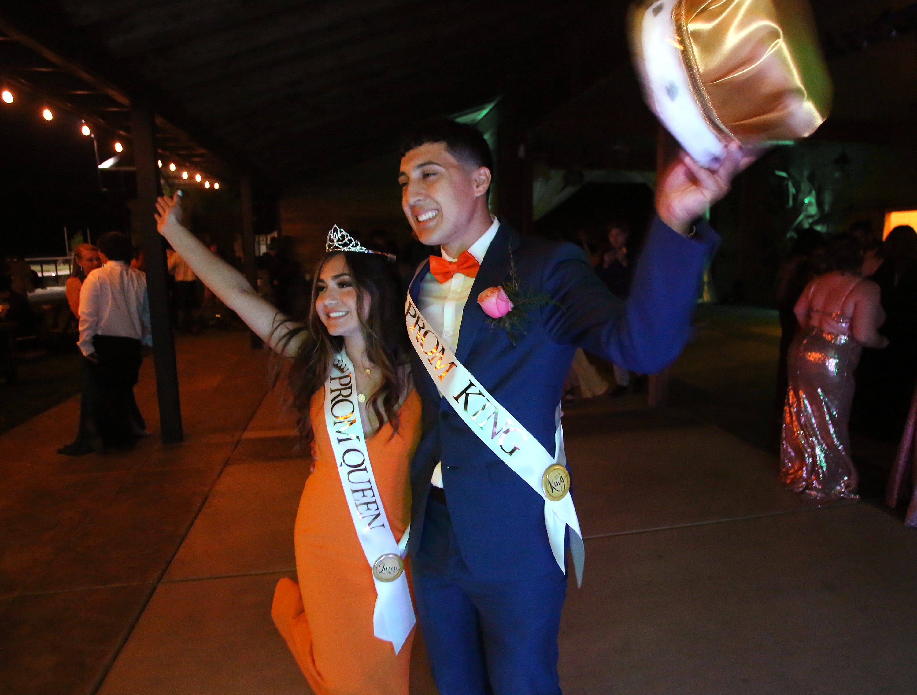 Jonathon Guerra and Aliyah Alvarez are named king and queen at this year's Exeter Union High School prom Saturday, May 4, 2019 in Woodlake, Calif.