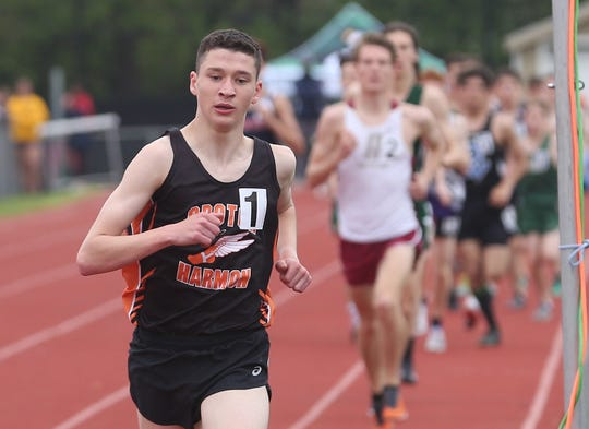Croton's Sean Gardiner on his way to winning the boys 3200 during the annual Joe Lynne Somers Club Invitational at Somers High School May 4, 2019.