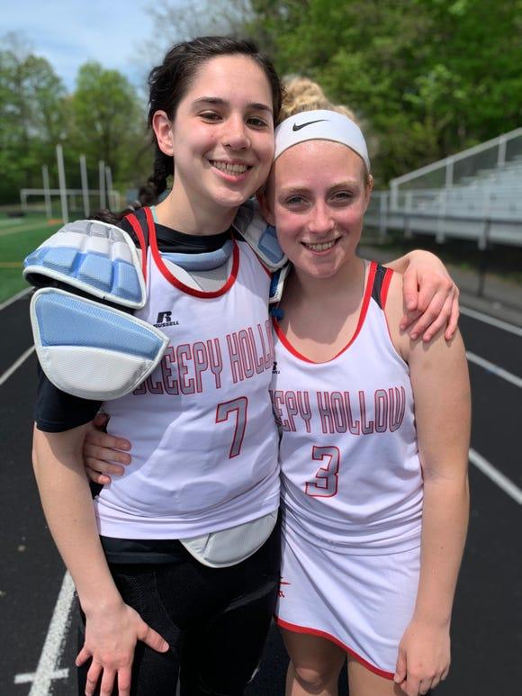 Sleepy Hollow's Hannah Lustyik (l) and Taylor Burnett celebrate their joint milestones May 4, 2019.
