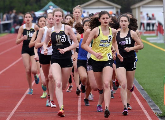 North Salem's Ava Jolley  on her way to winning the girls 3000 during the annual Joe Lynne Somers Club Invitational at Somers High School May 4, 2019.